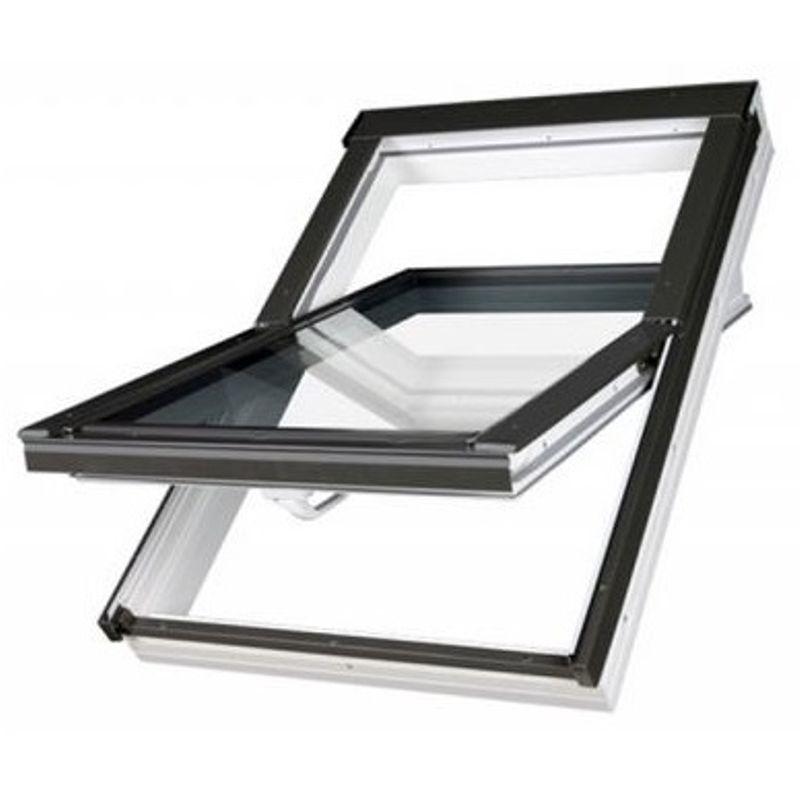 Купить Окно мансардное Fakro PTP U3 Z-Wave 660х1180 мм ручка снизу, Синий, ПВХ, ПОЛЬША