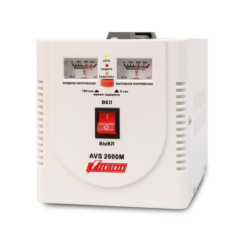 Стабилизатор POWERMAN AVS 2000M<br>Бренд: POWERMEN; Вид: Настенный; Входное напряжение: 110-260 В; Выходное напряжение: 220  ± 8% (202 - 237) В; Габариты: 200х160х190 мм; Гарантия: 1 год; Модель: AVS 2000M; Максимальная мощность: до 2000 ВА; Напряжение срабатывания защиты от повышенного выходного напряжения: 255 ± 5 В; Напряжение срабатывания защиты от пониженного выходного напряжения: 180 ± 5 В; Диапазон рабочих температур: От 0°С до 40°С; Номинальная мощность: 2000 ВА; Срабатывание термозащиты при повышении температуры трансформатора: 120 ± 10 °С; Время переключения: не более 5-7 мс; Степень защиты: IP 20; Страна производитель: Китай; Вес: 4,9 кг; Комплектация: Руководство по эксплуатации;
