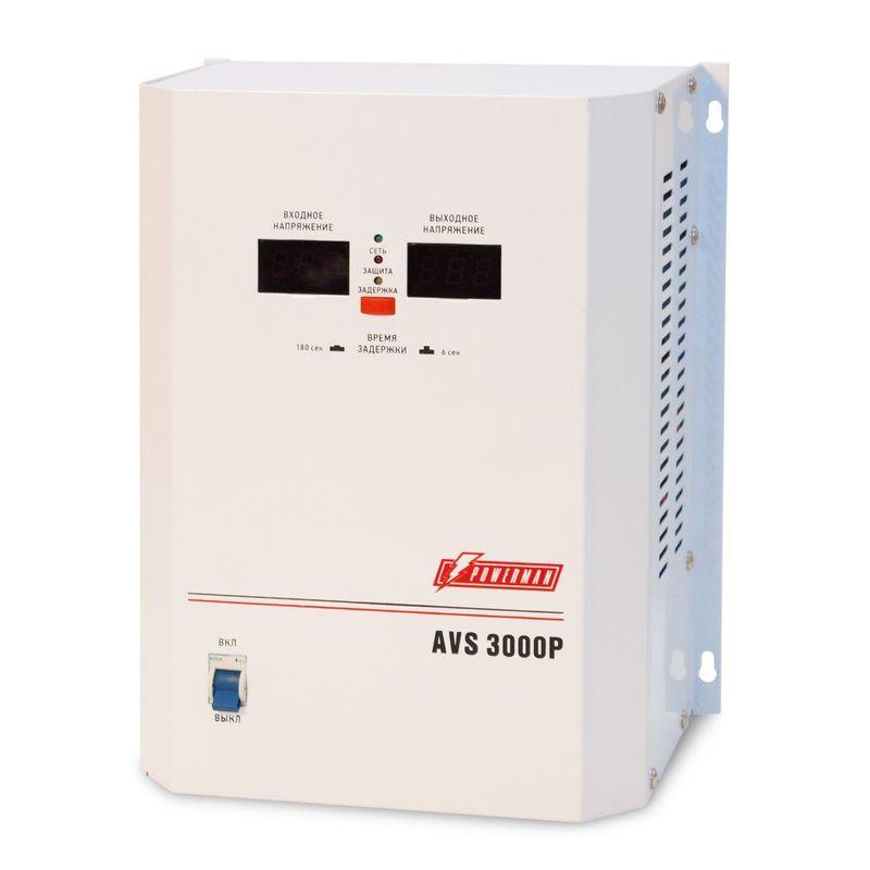 Стабилизатор POWERMEN AVS 3000P<br>Бренд: POWERMEN; Вид: Настенный; Входное напряжение: 110-260 В; Выходное напряжение: 220  ± 8% (202 - 237) В; Габариты: 260х220х130 мм; Гарантия: 1 год; Модель: AVS 3000P; Максимальная мощность: до 3000 ВА; Напряжение срабатывания защиты от повышенного выходного напряжения: 255 ± 5 В; Напряжение срабатывания защиты от пониженного выходного напряжения: 180 ± 5 В; Диапазон рабочих температур: От 0°С до 40°С; Номинальная мощность: 3000 ВА; Срабатывание термозащиты при повышении температуры трансформатора: 120 ± 10 °С; Время переключения: не более 5-7 мс; Степень защиты: IP 20; Страна производитель: Китай; Вес: 7,2 кг; Комплектация: Руководство по эксплуатации;