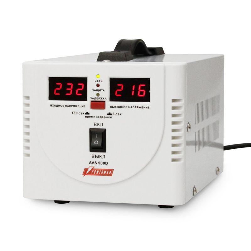 Стабилизатор POWERMEN AVS 500D<br>Бренд: POWERMEN; Вид: Настенный; Входное напряжение: 110-260 В; Выходное напряжение: 220  ± 8% (202 - 237) В; Габариты: 200х150х140 мм; Гарантия: 1 год; Модель: AVS 500D; Максимальная мощность: до 500 ВА; Напряжение срабатывания защиты от повышенного выходного напряжения: 255 ± 5 В; Напряжение срабатывания защиты от пониженного выходного напряжения: 180 ± 5 В; Диапазон рабочих температур: От 0°С до 40°С; Номинальная мощность: 500 ВА; Срабатывание термозащиты при повышении температуры трансформатора: 120 ± 10 °С; Время переключения: не более 5-7 мс; Степень защиты: IP 20; Страна производитель: Китай; Вес: 2,3 кг; Комплектация: Руководство по эксплуатации;