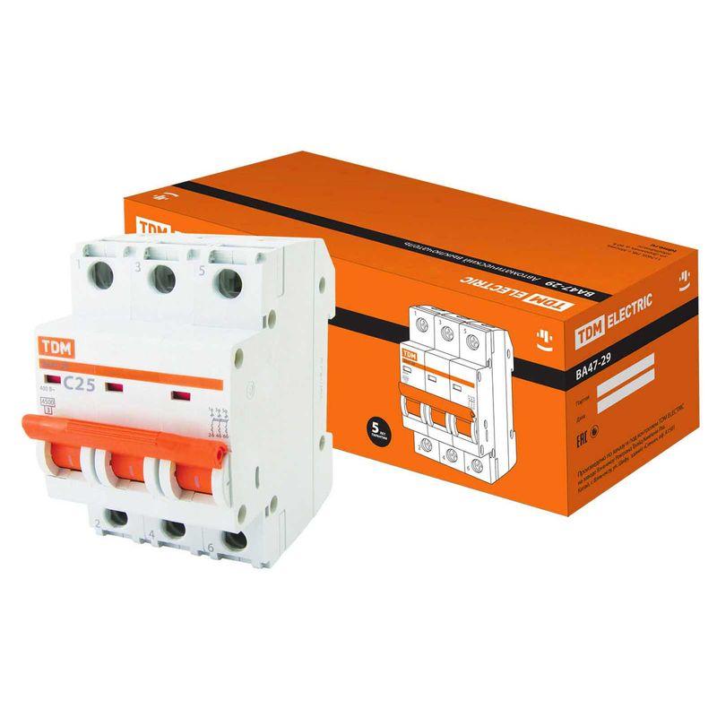 Автоматический выключатель ВА47-29 3Р 25А 4,5кА х-ка С TDM<br>Страна производитель: Китай; Бренд: TDM; Серия: ВА47-29; Тип конструкции: Модульный; Тип расцепителя: Электромагнитный; Количество полюсов: Трехполюсной; Количество занимаемых модулей: 3; Материал корпуса: Пластик; Способ монтажа: Din-рейка; Номинальный ток: 32 А; Номинальное напряжение: 230-400 В; Номинальная частота: 50 Гц; Класс срабатывания: C; Класс токоограничения: 3; Номинальная отключающая способность: 4,5 кА; Максимальное сечение подключаемого провода: Гибкий - 25 мм?; Степень защиты: Ip20; Электрическая износостойкость: 6000  циклов; Механическая износостойкость: 20000  циклов; Температура эксплуатации: От -40°С до +50°С °C;