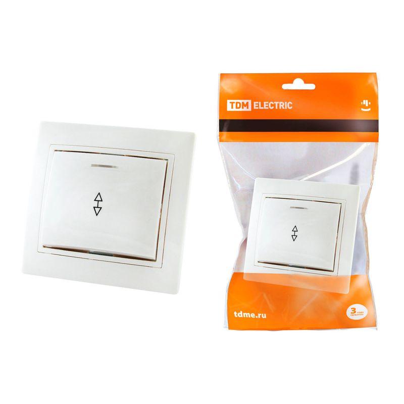 Выключатель на 2 направления 1 кл. с подсветкой 10А белый Таймыр TDM<br>Бренд: TDM;