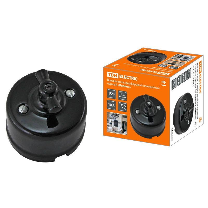 Выключатель фарфоровый поворотный с ручкой (бантик) 10А черный «Болонь» TDM<br>Бренд: TDM; Коллекция: Болонь; Тип выключателя: КЛАВИШНЫЙ; Тип установки: НАКЛАДНОЙ; Номинальный ток: 10 А; Номинальное напряжение: 220 В; Подсветка: БЕЗ ПОДСВЕТКИ; Степень защиты: IP20;