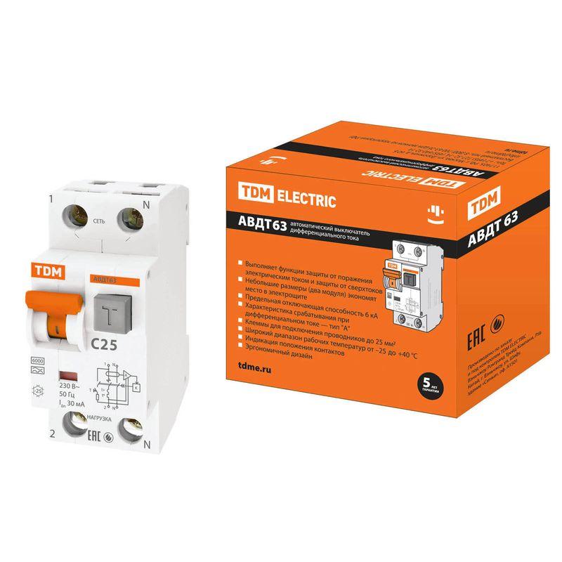 Дифференциальный автомат (АВДТ) 63 C25 30мА TDM<br>Бренд: TDM;