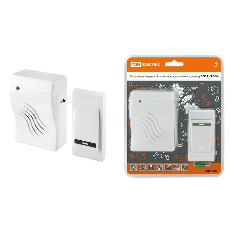 Звонок беспроводной в розетку ЗБР-11/1-36М (36 мелодий, кнопка IP30, AC 230V) TDM<br>Бренд: TDM;