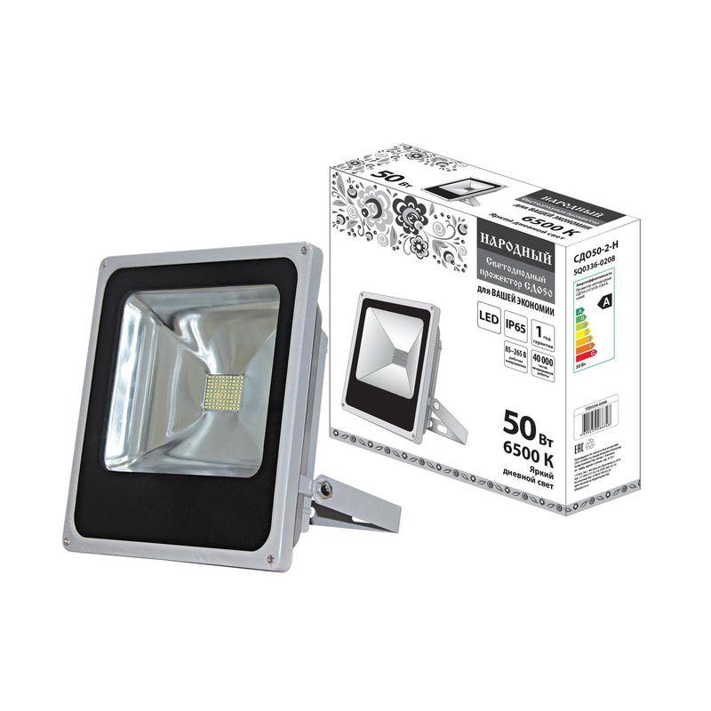 Прожектор светодиодный СДО50-2-Н 50 Вт, 6500 К, серый<br>Бренд: TDM; Серия: СДО; Артикул: SQ0336-0208; Тип: Светодиодный; Тип отражателя: Зеркальный; Цвет свечения: Белый; Цветовая температура: 6500 К; Световой поток: 4000 Лм; Угол обзора: 120 °; Номинальное напряжение: 220-230 В; Мощность: 50 вт; Материал корпуса: Алюминий; Срок службы: 50000 ч; Степень защиты: IP 65; Вес: 1,93 кг; Температура эксплуатации: От -30°С до +50°С; Габариты: 282х275х75 мм; Количество светодиодов: 100 шт; Страна производитель: Китай; Гарантия: 1 год; Количество в упаковке: 1;