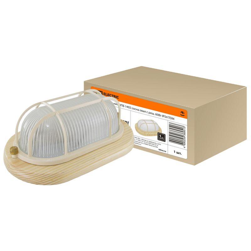 Светильник НПБ1402 сосна овал с реш. 60Вт IP54 TDM<br>Страна производитель: Китай; Бренд: TDM; Мощность: 60 Вт; Степень защиты: IP 54;