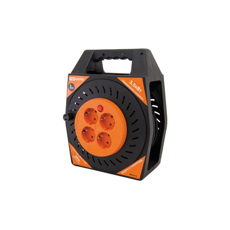 Удлинитель силовой в корпусе УКз16-004 TDM (4 места/20м ПВС 3х1,5)<br>Бренд: TDM; Количество в упаковке: 4;