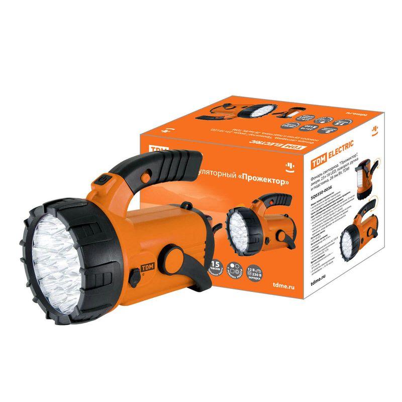 Фонарь светодиод. Прожектор, аккум. 23+18 LED, поворот. ручка и подставка, 28 лм/Вт, TDM<br>Бренд: TDM;