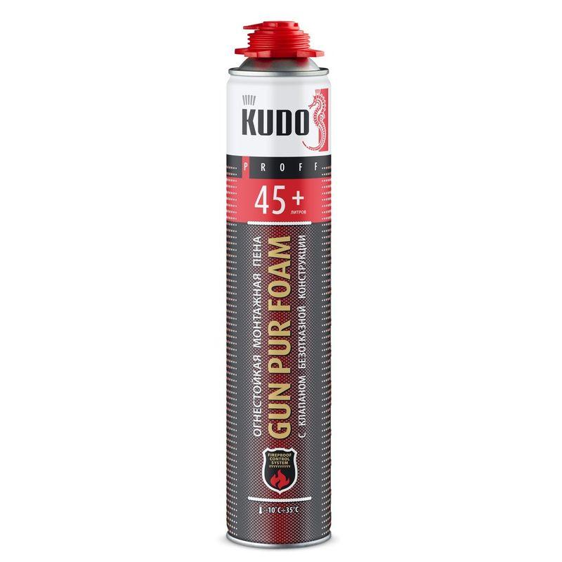 Пена монтажная огнеупорная KUDO Proff 45+, профессиональная, 1000 мл<br>Бренд: Kudo; Название: PROFF 45+; Объем: 1000 мл; Особые свойства: Огнеупорность; Сезон: Всесезонная; Тип: Профессиональная; Область применения: Для противопожарных дверей; Способ нанесения: Пистолет; Температура нанесения: От -10 до +35 °С; Температура эксплуатации: От -50 до +90 (кратковременно от -65 до +130) °С; Выход пены: 45 л; Плотность: 16-22 кг/м?; Коэффициент звукопоглощения: 61 Дб; Срок годности: 9 мес; Класс пожароопасности: B1;
