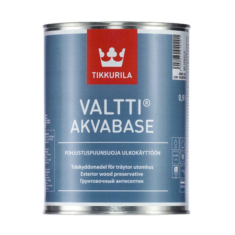 Антисептик грунтовочный Tikkurila VALTTI AKVABASE бесцветный, 9л<br>Бренд: Tikkurila; Название: VALTTI AKVABASE; Объем: 9 л; Состав: Льняное масло; Цвет производителя: Бесцветный; Особые свойства: Антисептик; Особые свойства: Влагозащита; Особые свойства: Антиплесень; Расход для пиленой древесины: 4 м?/л; Расход для строганой древесины: 5 м?/л; Тип работ: Для наружных работ;