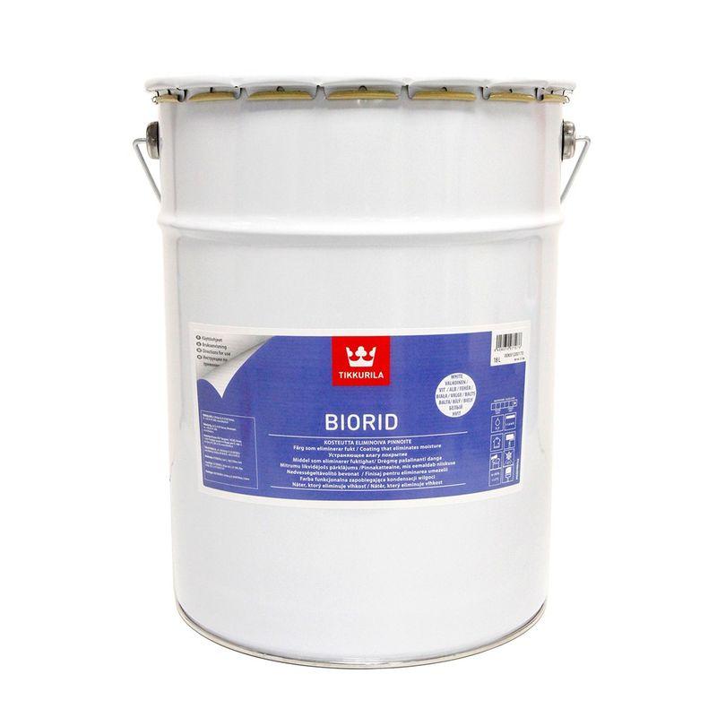 Краска влагоизолирующая Tikkurila BIORID белая глубокоматовая, 18л<br>Объем: 18 л; Вес: 22 кг; Название: BIORID; Бренд: Tikkurila; База: A; Цвет производителя: Белый; Вид: Водно-дисперсионная; Состав: Акриловая; Степень блеска: Глубокоматовая; Особые свойства: Экологичность; Особые свойства: Влагостойкость; Расход: 0,75-1,2 кг/м2; Время высыхания: 8-12 ч; Способ колеровки: Не колеруется; Тип поверхности: Кирпич; Тип поверхности: Камень; Тип поверхности: Бетон; Тип поверхности: Штукатурка; Назначение: Для потолков; Назначение: Универсальная; Назначение: Для стен; Разбавитель: Вода; Способ нанесения: Валик; Способ нанесения: Кисть; Способ нанесения: Краскопульт; Тип работ: Для внутренних работ; Максимальная температура хранения: +30 °C; Минимальная температура хранения: +5 °C; Максимальная температура эксплуатации: +30 °C; Минимальная температура эксплуатации: +5 °C; Срок годности: 24 мес; Цвет: Белый;