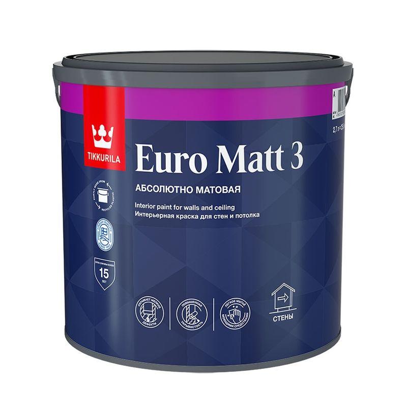 Краска для гостиных и спален Tikkurila Euro Matt 3 глубокоматовая, база С, 2,7л<br>Объем: 2.7 л; Вес: 3,35 кг; Название: Euro Matt 3; Бренд: TIKKURILA; База: C; Цвет производителя: Прозрачный; Вид: Водно-дисперсионная; Состав: Акриловая; Степень блеска: Глубокоматовая; Особые свойства: Износостойкость; Особые свойства: Экологичность; Расход: 7-10 м2/л; Время высыхания: 2 ч; Способ колеровки: Машинная колеровка; Тип поверхности: Камень; Тип поверхности: ДЕРЕВО; Тип поверхности: Кирпич; Тип поверхности: Обои; Тип поверхности: Штукатурка; Тип поверхности: Гипсокартон; Тип поверхности: Бетон; Назначение: Для потолков; Назначение: Для стен; Разбавитель: Вода; Способ нанесения: Валик; Способ нанесения: Краскопульт; Способ нанесения: Кисть; Тип работ: Для внутренних работ; Максимальная температура хранения: +30 °C; Минимальная температура хранения: +5 °C; Максимальная температура эксплуатации: +30 °C; Минимальная температура эксплуатации: +5 °C; Срок годности: 36 мес; Цвет: Бесцветный; База под колеровку: НАСЫЩЕННЫЕ ТОНА;
