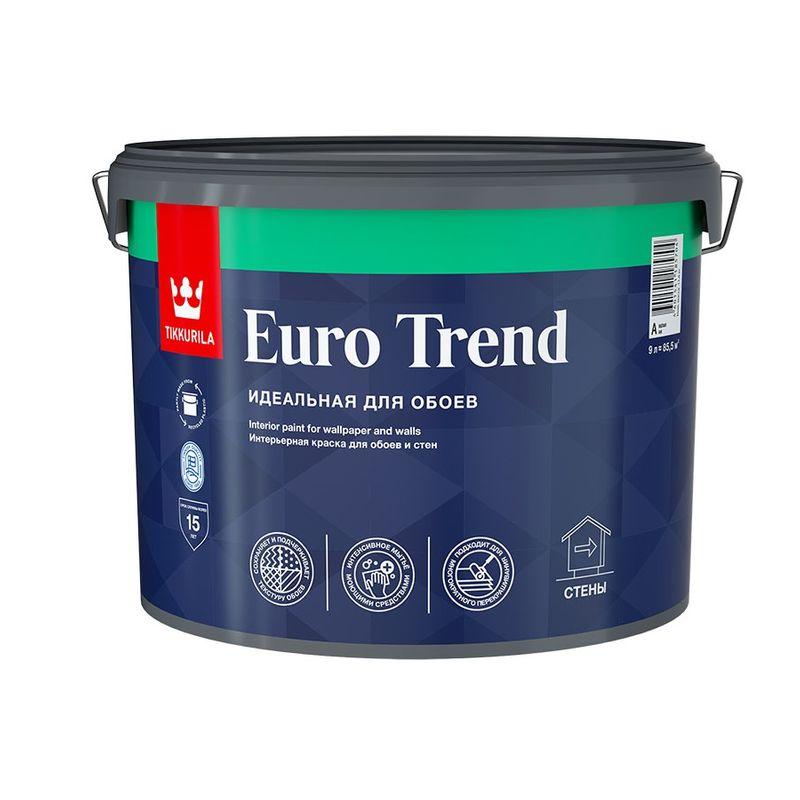 Краска для обоев и стен Tikkurila EURO TREND матовая, база А, 9л<br>Объем: 9 л; Вес: 11,71 кг; Название: EURO TREND; Бренд: TIKKURILA; База: A; Цвет производителя: Белая; Вид: Водно-дисперсионная; Состав: Акриловая; Степень блеска: Матовая; Особые свойства: Износостойкость; Особые свойства: Моющаяся; Расход: 7-12 М2/Л; Время высыхания: 2 ч; Способ колеровки: Машинная колеровка; Тип поверхности: Обои; Назначение: Для потолков; Назначение: Для стен; Разбавитель: Вода; Способ нанесения: Кисть; Способ нанесения: Валик; Способ нанесения: Краскопульт; Тип работ: Для внутренних работ; Максимальная температура хранения: +40 °C; Минимальная температура хранения: +5 °C; Максимальная температура эксплуатации: +30 °C; Минимальная температура эксплуатации: +5 °C; Срок годности: 36 мес; Цвет: Белый; База под колеровку: СВЕТЛЫЕ ТОНА;