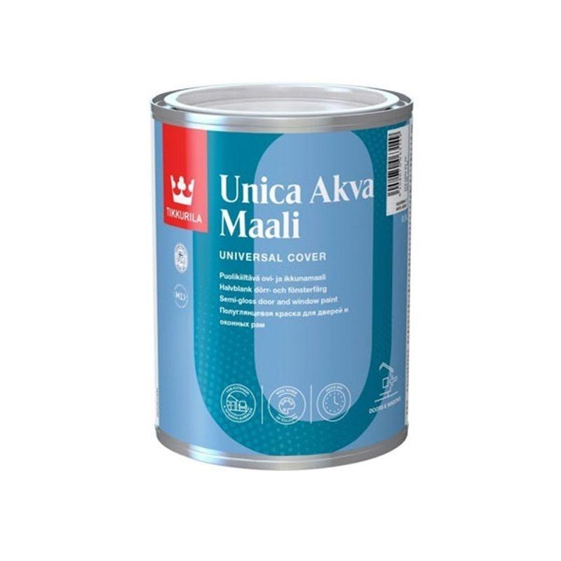 Краска для окон и дверей Tikkurila UNICA AKVA MAALI полуглянцевая, база С, 0,9л<br>Объем: 0.9 л; Вес: 1,17 кг; Название: UNICA AKVA MAALI; Бренд: Tikkurila; База: C; Цвет производителя: Прозрачный; Вид: Водно-дисперсионная; Состав: Акрилатная; Степень блеска: Полуглянцевая; Особые свойства: Атмосферостойкость; Особые свойства: Износостойкость; Особые свойства: Влагостойкость; Расход: 7-9 м2/л; Время высыхания: 24 ч; Способ колеровки: Машинная колеровка; Тип поверхности: Дерево; Тип поверхности: Металл; Назначение: Для металлических поверхностей; Назначение: Для деревянных изделий; Разбавитель: Вода; Способ нанесения: Кисть; Способ нанесения: Краскопульт; Способ нанесения: Валик; Тип работ: Для наружных работ; Максимальная температура хранения: +40 °C; Минимальная температура хранения: +5 °C; Максимальная температура эксплуатации: +30 °C; Минимальная температура эксплуатации: +5 °C; Срок годности: 36 мес; Цвет: Бесцветный; База под колеровку: Насыщенные тона;