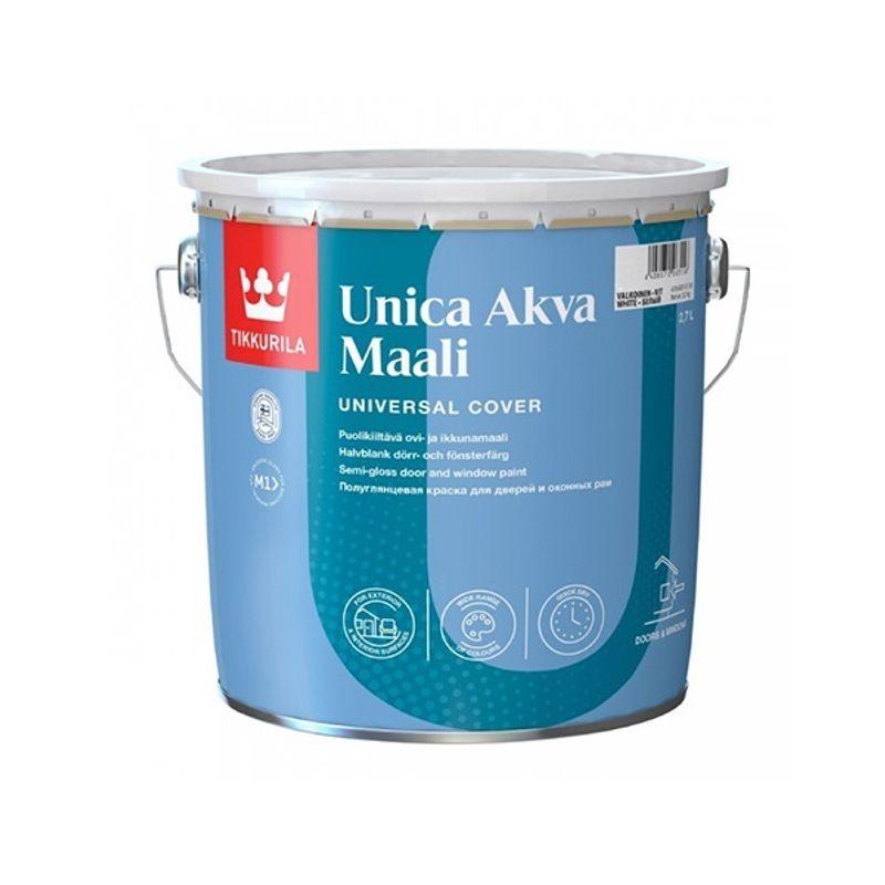 Краска для окон и дверей Tikkurila UNICA AKVA MAALI полуглянцевая, база С, 2,7л<br>Объем: 2.7 л; Вес: 3,51 кг; Название: UNICA AKVA MAALI; Бренд: Tikkurila; База: C; Цвет производителя: Прозрачный; Вид: Водно-дисперсионная; Состав: Акрилатная; Степень блеска: Полуглянцевая; Особые свойства: Износостойкость; Особые свойства: Влагостойкость; Особые свойства: Атмосферостойкость; Расход: 7-9 м2/л; Время высыхания: 24 ч; Способ колеровки: Машинная колеровка; Тип поверхности: Дерево; Тип поверхности: Металл; Назначение: Для деревянных изделий; Назначение: Для металлических поверхностей; Разбавитель: Вода; Способ нанесения: Кисть; Способ нанесения: Краскопульт; Способ нанесения: Валик; Тип работ: Для наружных работ; Максимальная температура хранения: +40 °C; Минимальная температура хранения: +5 °C; Максимальная температура эксплуатации: +30 °C; Минимальная температура эксплуатации: +5 °C; Срок годности: 36 мес; Цвет: Бесцветный; База под колеровку: Насыщенные тона;