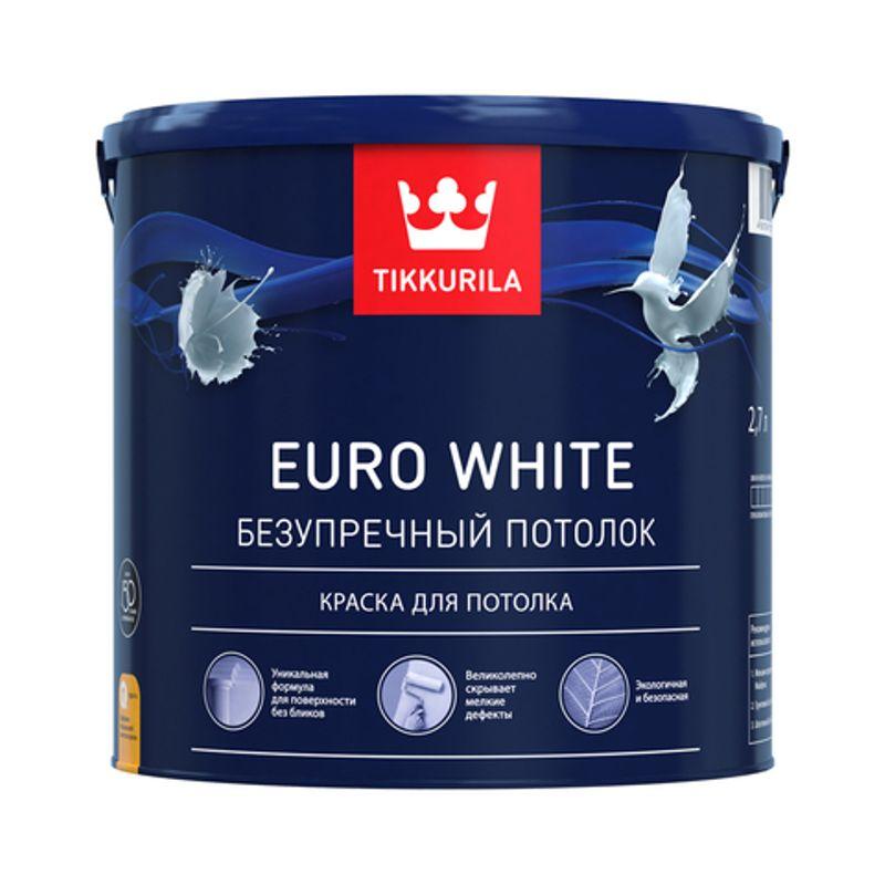 Краска для потолка Tikkurila EURO WHITE белая, глубокоматовая, 2,7л<br>Объем: 2.7 л; Вес: 4,32 кг; Название: EURO WHITE; Бренд: Tikkurila; Цвет производителя: Белый; Вид: Водно-дисперсионная; Состав: Акриловая; Степень блеска: Глубокоматовая; Особые свойства: Износостойкость; Особые свойства: Экологичность; Расход: 7-12; Время высыхания: 2 ч; Способ колеровки: Не колеруется; Тип поверхности: Бетон; Тип поверхности: Шпатлевка; Тип поверхности: Кирпич; Тип поверхности: Штукатурка; Тип поверхности: Гипсокартон; Тип поверхности: Дерево; Назначение: Для потолков; Разбавитель: Вода; Способ нанесения: Валик; Способ нанесения: Кисть; Способ нанесения: Распылитель; Тип работ: Для внутренних работ; Максимальная температура хранения: +40 °C; Минимальная температура хранения: +5 °C; Максимальная температура эксплуатации: +35 °C; Минимальная температура эксплуатации: +5 °C; Срок годности: 36 мес; Цвет: Белый;