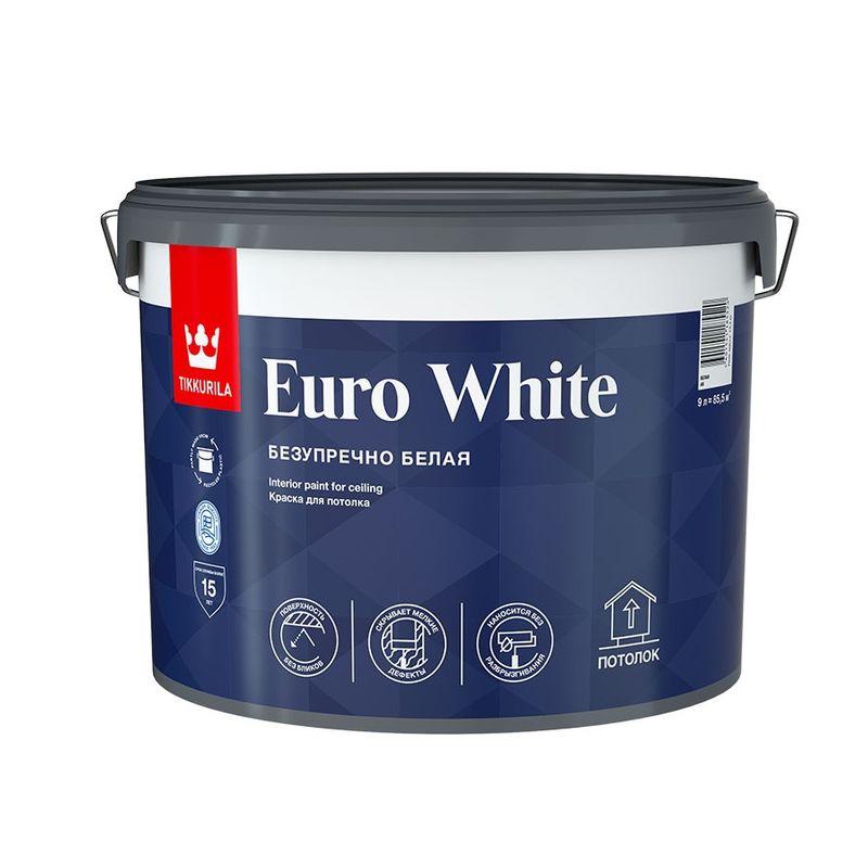 Краска для потолка Tikkurila EURO WHITE белая, глубокоматовая, 9л<br>Объем: 9 л; Вес: 14,4 кг; Название: EURO WHITE; Бренд: Tikkurila; Цвет производителя: Белый; Вид: Водно-дисперсионная; Состав: Акриловая; Степень блеска: Глубокоматовая; Особые свойства: Износостойкость; Особые свойства: Экологичность; Расход: 7-12; Время высыхания: 2 ч; Способ колеровки: Не колеруется; Тип поверхности: Шпатлевка; Тип поверхности: Дерево; Тип поверхности: Кирпич; Тип поверхности: Гипсокартон; Тип поверхности: Бетон; Тип поверхности: Штукатурка; Назначение: Для потолков; Разбавитель: Вода; Способ нанесения: Валик; Способ нанесения: Распылитель; Способ нанесения: Кисть; Тип работ: Для внутренних работ; Максимальная температура хранения: +40 °C; Минимальная температура хранения: +5 °C; Максимальная температура эксплуатации: +35 °C; Минимальная температура эксплуатации: +5 °C; Срок годности: 36 мес; Цвет: Белый;