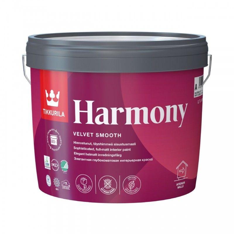 Краска интерьерная Tikkurila HARMONY глубокоматовая, база А, 2,7л<br>Объем: 2.7 л; Вес: 3,51 кг; Название: HARMONY; Бренд: Tikkurila; База: A; Цвет производителя: Белый; Вид: Водно-дисперсионная; Состав: Акриловый латекс; Степень блеска: Глубокоматовая; Особые свойства: Моющаяся; Особые свойства: Экологичность; Особые свойства: Влагостойкая; Расход: 7-12; Время высыхания: 1-2 ч; Способ колеровки: Машинная колеровка; Тип поверхности: Гипсокартон; Тип поверхности: Дерево; Тип поверхности: Бетон; Тип поверхности: Шпатлевка; Тип поверхности: Кирпич; Тип поверхности: Штукатурка; Назначение: Для стен; Назначение: Для потолков; Разбавитель: Вода; Способ нанесения: Распылитель; Способ нанесения: Кисть; Способ нанесения: Валик; Тип работ: Для внутренних работ; Максимальная температура хранения: +40 °C; Минимальная температура хранения: +5 °C; Максимальная температура эксплуатации: +30 °C; Минимальная температура эксплуатации: +5 °C; Срок годности: 36 мес; Цвет: Белый; База под колеровку: Светлые тона;