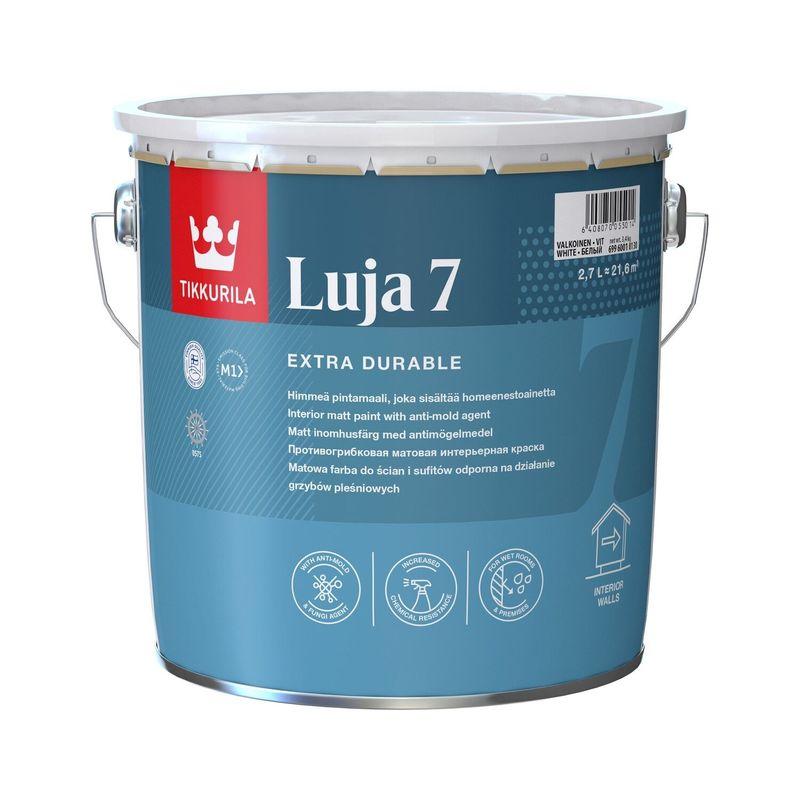 Краска интерьерная экстра-стойкая Tikkurila LUJA 7 матовая, база А, 2,7л<br>Объем: 2.7 л; Вес: 3,24 кг; Название: Luja 7; Бренд: Tikkurila; База: A; Цвет производителя: Белый; Вид: Водно-дисперсионная; Состав: Акриловая; Степень блеска: Матовая; Особые свойства: Влагостойкость; Особые свойства: Моющаяся; Особые свойства: Износостойкость; Особые свойства: Антисептик; Расход: 5-8; Время высыхания: 2-4 ч; Способ колеровки: Машинная колеровка; Тип поверхности: Штукатурка; Тип поверхности: Гипсокартон; Тип поверхности: Бетон; Тип поверхности: Дерево; Тип поверхности: Кирпич; Тип поверхности: Шпатлевка; Назначение: Для потолков; Назначение: Для стен; Разбавитель: Вода; Способ нанесения: Валик; Способ нанесения: Распылитель; Способ нанесения: Кисть; Тип работ: Для внутренних работ; Максимальная температура хранения: +25 °C; Минимальная температура хранения: +5 °C; Максимальная температура эксплуатации: +25 °C; Минимальная температура эксплуатации: +5 °C; Срок годности: 36 мес; Цвет: Белый; База под колеровку: Светлые тона;