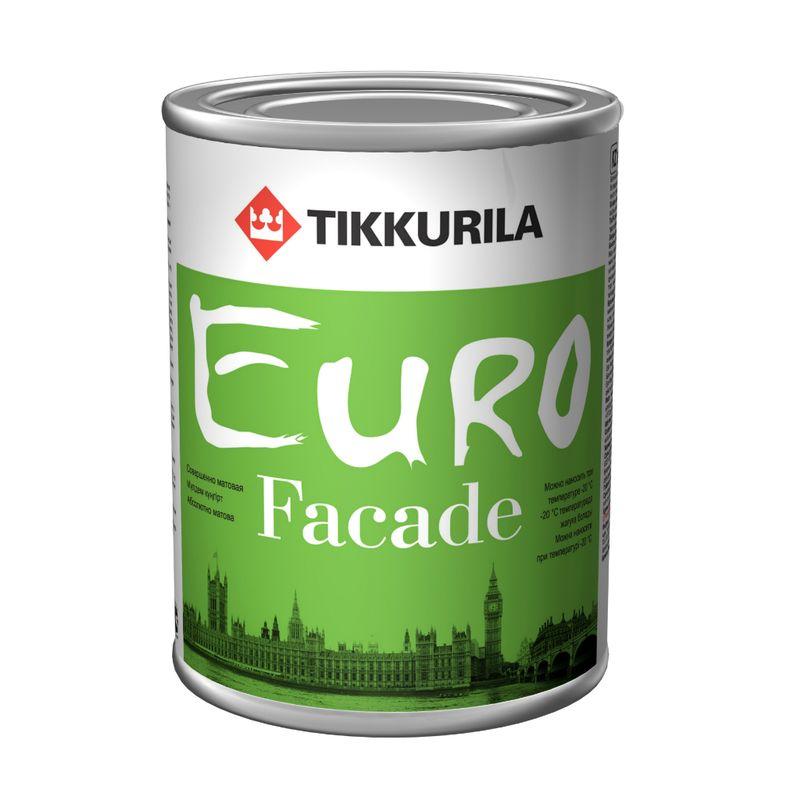 Краска фасадная Tikkurila EURO FACADE KB, 2,7л<br>Объем: 2.7 л; Вес: 3,78 кг; Название: EURO FACADE; Бренд: Tikkurila; База: KB; Цвет производителя: Полупрозрачный; Вид: Эмалевая; Степень блеска: Глубокоматовая; Особые свойства: Влагостойкость; Особые свойства: Атмосферостойкость; Особые свойства: Износостойкость; Расход: 3-6; Время высыхания: 2-5 ч; Способ колеровки: Машинная колеровка; Тип поверхности: Штукатурка; Тип поверхности: Бетон; Назначение: Для фасадов; Разбавитель: Растворитель; Способ нанесения: Кисть; Способ нанесения: Распылитель; Способ нанесения: Валик; Тип работ: Для наружных работ; Максимальная температура хранения: +40 °C; Минимальная температура хранения: -40 °C; Максимальная температура эксплуатации: +35 °C; Минимальная температура эксплуатации: -20 °C; Срок годности: 60 мес; Цвет: Белый; База под колеровку: Насыщенные тона;