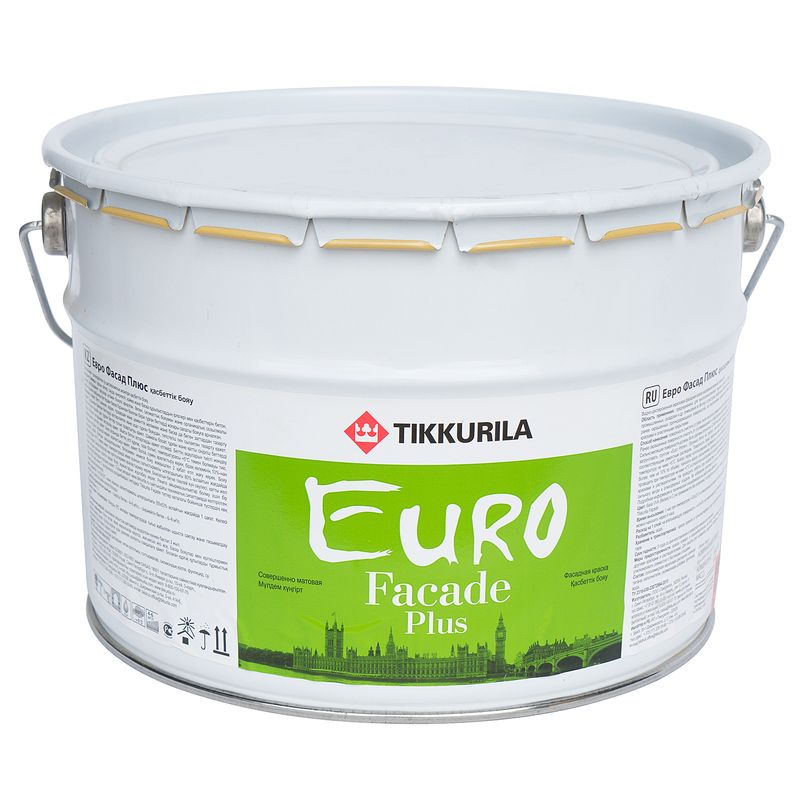 Краска фасадная Tikkurila EURO FACADE PLUS C, 9л<br>Объем: 9 л; Вес: 12,42 кг; Название: EURO FACADE PLUS; Бренд: Tikkurila; База: C; Цвет производителя: Прозрачный; Вид: Водно-дисперсионная; Состав: Силиконовая; Степень блеска: Глубокоматовая; Особые свойства: Атмосферостойкость; Особые свойства: Экологичность; Особые свойства: Антисептик; Особые свойства: Влагостойкость; Расход: 4-8; Время высыхания: До 12 ч; Способ колеровки: Машинная колеровка; Тип поверхности: Дерево; Назначение: Для фасадов; Разбавитель: Вода; Способ нанесения: Распылитель; Способ нанесения: Валик; Способ нанесения: Кисть; Тип работ: Для наружных работ; Максимальная температура хранения: +40 °C; Минимальная температура хранения: +5 °C; Максимальная температура эксплуатации: +40 °C; Минимальная температура эксплуатации: +5 °C; Срок годности: 36 мес; Цвет: Бесцветный; База под колеровку: Насыщенные тона;