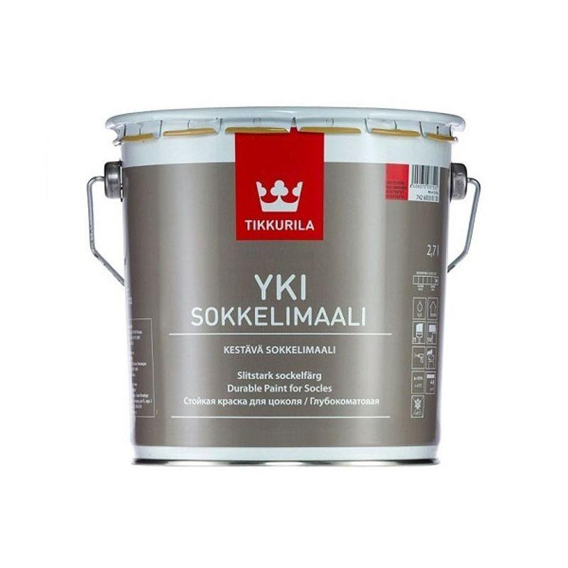 Краска фасадная Tikkurila YKI матовая, база А, 2,7л<br>Объем: 2.7 л; Вес: 3,51 кг; Название: YKI; Бренд: Tikkurila; База: A; Цвет производителя: Белый; Вид: Водно-дисперсионная; Состав: Акрилатная; Состав: Латексная; Степень блеска: Матовая; Особые свойства: Износостойкость; Особые свойства: Влагостойкость; Особые свойства: Паропроницаемость; Особые свойства: Ударопрочность; Расход: 4-10; Время высыхания: 1-2 ч; Способ колеровки: Машинная колеровка; Тип поверхности: Бетон; Назначение: Для фасадов; Разбавитель: Вода; Способ нанесения: Валик; Способ нанесения: Кисть; Способ нанесения: Распылитель; Тип работ: Для наружных работ; Максимальная температура хранения: +35 °C; Минимальная температура хранения: +5 °C; Максимальная температура эксплуатации: +35 °C; Минимальная температура эксплуатации: +5 °C; Срок годности: 36 мес; Цвет: Белый; База под колеровку: Светлые тона;