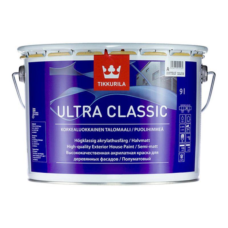 Краска фасадная для дерева Tikkurila ULTRA CLASSIC полуматовая, база С, 9л<br>Объем: 9 л; База: C;