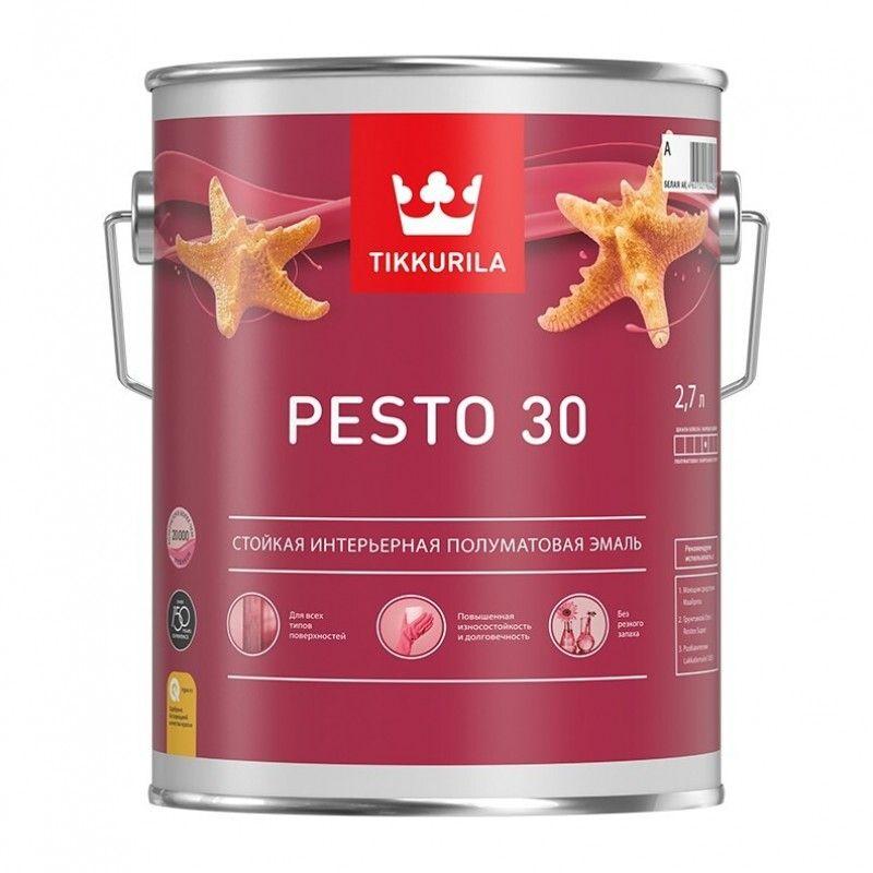 Эмаль без резкого запаха Tikkurila PESTO 30 полуматовая, база C, 2,7л<br>Бренд: Tikkurila; Название: PESTO 30; База: C; Цвет производителя: Белый; Объем: 2.7 л; Вес: 4,05 кг; Расход: 10-12; Степень блеска: Полуматовая; Особые свойства: Износостойкость; Особые свойства: Моющаяся; Особые свойства: БЕЗ ЗАПАХА; Фактура: Гладкая; Тип поверхности: Металл; Тип поверхности: Гипсокартон; Тип поверхности: Бетон; Тип поверхности: Дсп, двп, фанера; Тип поверхности: Дерево; Тип поверхности: Кирпич; Назначение: Универсальная; Способ колеровки: Машинная колеровка; Срок годности: 60 мес; Разбавитель: Уайт-спирит; Способ нанесения: Кисть; Способ нанесения: Валик; Способ нанесения: Краскопульт; Тип работ: Для внутренних работ; Время высыхания: До 24 часов; Минимальная температура эксплуатации: +5; Максимальная температура эксплуатации: +40; Минимальная температура хранения: -40; Максимальная температура хранения: +40; Морозостойкость: Да; Цвет: Белый;