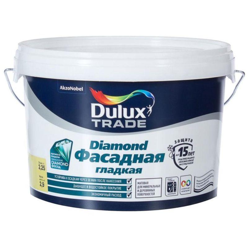 Краска фасадная Dulux Trade DIAMOND гладкая, матовая, база BC, 9л<br>Объем: 9 л; Вес: 12,51 кг; Название: Trade DIAMOND; Бренд: Dulux; База: BC; Цвет производителя: Прозрачный; Вид: Водно-дисперсионная; Состав: Акриловая; Степень блеска: Матовая; Особые свойства: Влагостойкость; Особые свойства: Атмосферостойкость; Особые свойства: Износостойкость; Особые свойства: Экологичность; Особые свойства: Паропроницаемость; Особые свойства: Без брызг и потеков; Особые свойства: Высокая адгезия; Расход: 16; Время высыхания: 2-4 ч; Способ колеровки: Машинная колеровка; Тип поверхности: Кирпич; Тип поверхности: Штукатурка; Тип поверхности: Бетон; Тип поверхности: Дерево; Назначение: Для фасадов; Разбавитель: Вода; Способ нанесения: Кисть; Способ нанесения: Распылитель; Способ нанесения: Валик; Тип работ: Для наружных работ; Максимальная температура хранения: +30 °C; Минимальная температура хранения: +5 °C; Максимальная температура эксплуатации: +30 °C; Минимальная температура эксплуатации: +5 °C; Срок годности: 48 мес; Цвет: Бесцветный; База под колеровку: Насыщенные тона;