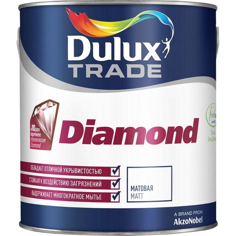 Краска фасадная Dulux Trade DIAMOND гладкая, матовая, база BM, 4,8л<br>Объем: 4.8 л; Вес: 6,67 кг; Название: Trade DIAMOND; Бренд: Dulux; База: BM; Цвет производителя: Полупрозрачный; Вид: Водно-дисперсионная; Состав: Акриловая; Степень блеска: Матовая; Особые свойства: Экологичность; Особые свойства: Атмосферостойкость; Особые свойства: Высокая адгезия; Особые свойства: Без брызг и потеков; Особые свойства: Влагостойкость; Особые свойства: Износостойкость; Особые свойства: Паропроницаемость; Расход: 16; Время высыхания: 2-4 ч; Способ колеровки: Машинная колеровка; Тип поверхности: Бетон; Тип поверхности: Дерево; Тип поверхности: Кирпич; Тип поверхности: Штукатурка; Назначение: Для фасадов; Разбавитель: Вода; Способ нанесения: Кисть; Способ нанесения: Валик; Способ нанесения: Распылитель; Тип работ: Для наружных работ; Максимальная температура хранения: +30 °C; Минимальная температура хранения: +5 °C; Максимальная температура эксплуатации: +30 °C; Минимальная температура эксплуатации: +5 °C; Срок годности: 48 мес; Цвет: Белый; База под колеровку: Насыщенные тона;