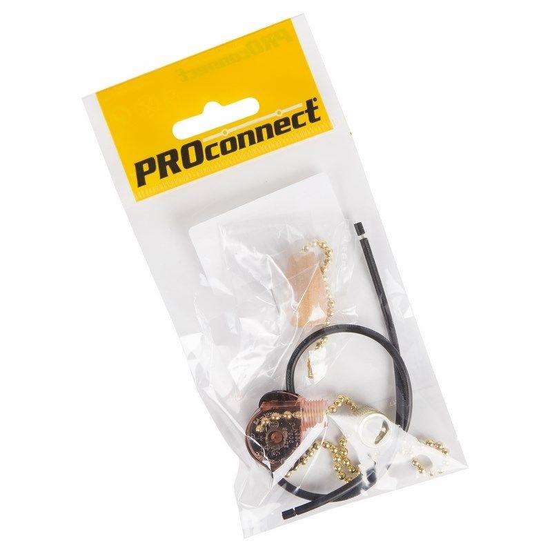 Выключатель для настенного светильника c проводом и деревянным наконечником, gold PROCONNECT Индивидуальная упаковка 1 шт,<br>Бренд: PROconnect;