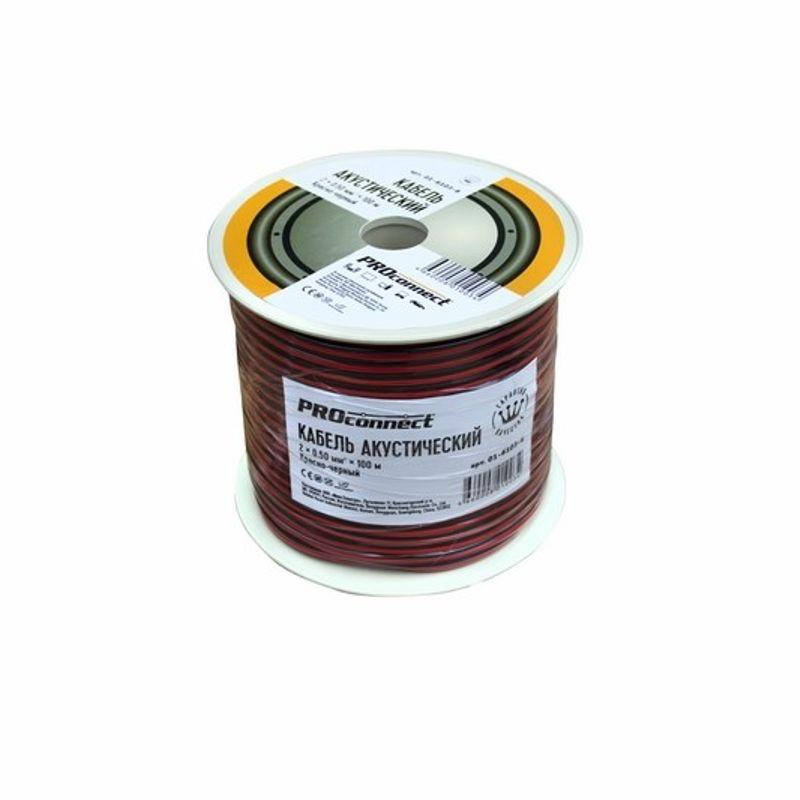 Кабель акустический, 2х0,50 мм?, красно-черный, 100 м, PROCONNECT<br>