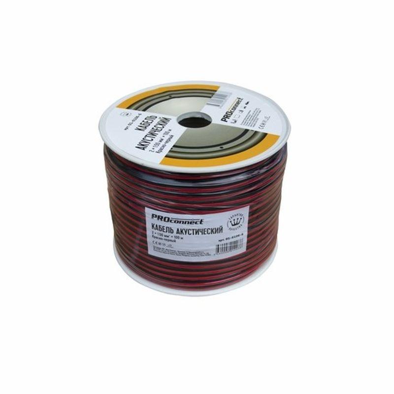 Кабель акустический, 2х1,50 мм?, красно-черный, 100 м, PROCONNECT<br>