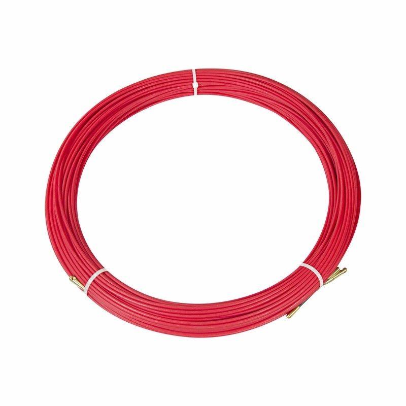 Протяжка кабельная (мини УЗК в бухте), стеклопруток, d=3,5мм, 70м КРАСНАЯ<br>Артикул: 47-1070; Количество в упаковке: 1; Цвет: Красный; Страна производитель: Китай; Бренд: REXANT; Диаметр: 3 мм; Материал: ПНД; Длина: 70 м; Упаковка: Бухта; Тип наконечника: Фиксированный;