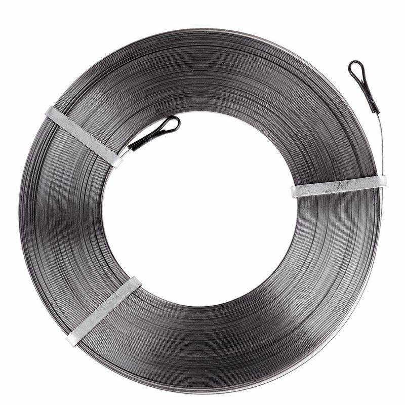 Протяжка кабельная стальная плоская 30 метров PROCONNECT<br>Артикул: 47-5030-6; Цвет: Серый; Количество в упаковке: 1; Страна производитель: Китай; Бренд: PROconnect; Материал: Сталь; Длина: 30 м; Упаковка: Бухта; Тип наконечника: Фиксированный;