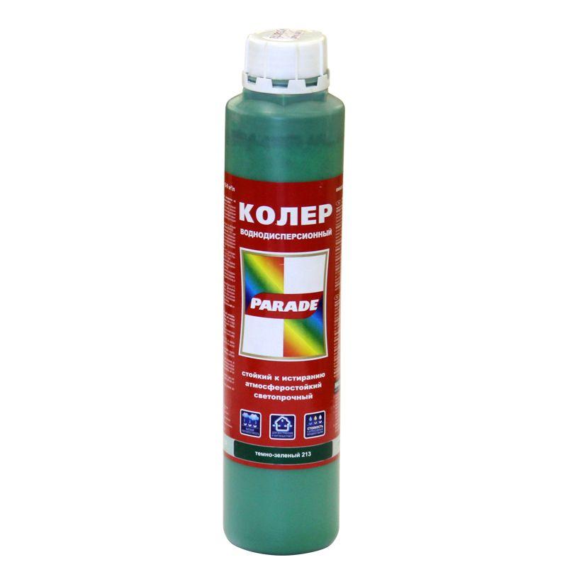 Колер PARADE в/д № 213 (темно-зеленый) 0,75лИспользуется для тонирования всех видов красок, шпатлевок и декоративных<br>штукатурок на водной основе. Допускает использование в концентрированном<br>виде для специальных случаев оформления интерьеров и фасадов зданий.<br><br>Вид: Колер-краска; Цвет производителя: Темно-зеленый 213; Объем: 0,75 л; База: Краска; Состав базы: Вододисперсионный; Особые свойства: Атмосферостойкость; Особые свойства: Светостойкость; Тип использования: Для колеровки; Бренд: Parade; Цвет: Зеленый;