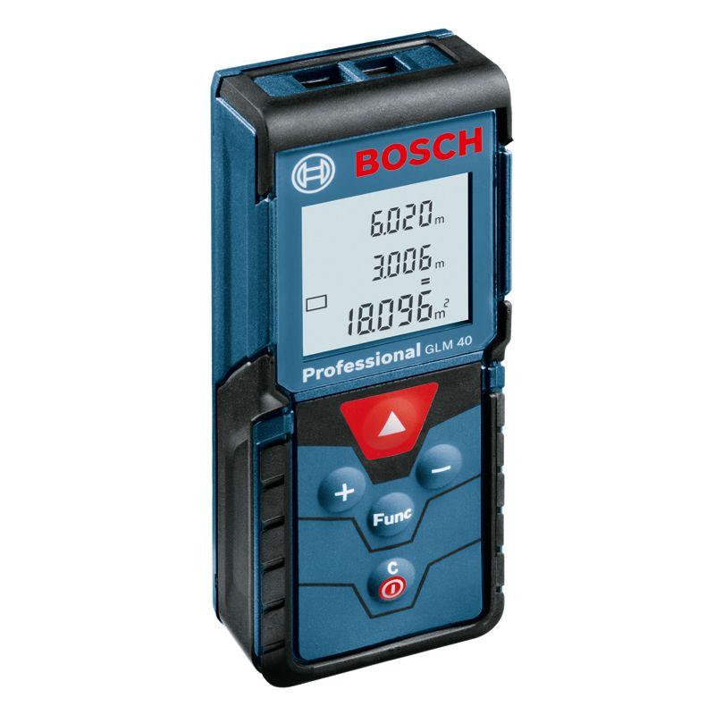 Дальномер лазерный BOSCH GLM 40Дальномер&amp;nbsp;лазерный&amp;nbsp;Bosch&amp;nbsp;GLM&amp;nbsp;40<br><br>Профессиональный&amp;nbsp;лазерный&amp;nbsp;прибор&amp;nbsp;для&amp;nbsp;выполнения&amp;nbsp;измерений.<br><br>НАЗНАЧЕНИЕ:<br><br>Используется&amp;nbsp;для&amp;nbsp;измерения&amp;nbsp;расстояний,&amp;nbsp;длины,&amp;nbsp;высоты,&amp;nbsp;вычисления&amp;nbsp;площади,&amp;nbsp;расчета&amp;nbsp;объема<br><br>ПРЕИМУЩЕСТВА:<br><br>Диапазон&amp;nbsp;дальности&amp;nbsp;действия&amp;nbsp;&amp;ndash;&amp;nbsp;от&amp;nbsp;0,15м&amp;nbsp;до&amp;nbsp;40м;<br>Долговечность&amp;nbsp;(корпус&amp;nbsp;выполнен&amp;nbsp;из&amp;nbsp;ударопрочного&amp;nbsp;пластика;&amp;nbsp;защита&amp;nbsp;от&amp;nbsp;пыли&amp;nbsp;и&amp;nbsp;брызг&amp;nbsp;воды:&amp;nbsp;IP&amp;nbsp;54);<br>Надежность&amp;nbsp;(прибор&amp;nbsp;прошел&amp;nbsp;сертификацию&amp;nbsp;по&amp;nbsp;стандартам&amp;nbsp;ISO;&amp;nbsp;точность&amp;nbsp;измерений&amp;nbsp;- &amp;plusmn;1,5&amp;nbsp;мм);<br>Удобство&amp;nbsp;в&amp;nbsp;использовании&amp;nbsp;(дисплей&amp;nbsp;с&amp;nbsp;тремя&amp;nbsp;сточками&amp;nbsp;и&amp;nbsp;подсветкой;&amp;nbsp;в&amp;nbsp;памяти&amp;nbsp;остаются&amp;nbsp;последние&amp;nbsp;10&amp;nbsp;измерений;&amp;nbsp;питание&amp;nbsp;от&amp;nbsp;двух&amp;nbsp;батареек&amp;nbsp;типа&amp;nbsp;ААА,&amp;nbsp;<br><br>которые&amp;nbsp;обеспечивают&amp;nbsp;до&amp;nbsp;5000&amp;nbsp;замеров;&amp;nbsp;диапазон&amp;nbsp;рабочих&amp;nbsp;температур&amp;nbsp;от&amp;nbsp;-100С&amp;nbsp;до&amp;nbsp;+450С;&amp;nbsp;при&amp;nbsp;неиспользовании&amp;nbsp;прибора&amp;nbsp;он&amp;nbsp;сам&amp;nbsp;отключается&amp;nbsp;через&amp;nbsp;5&amp;nbsp;минут;&amp;nbsp;<br><br>легкий&amp;nbsp;вес&amp;nbsp;&amp;ndash;&amp;nbsp;0,09кг;&amp;nbsp;возможность&amp;nbsp;проведения&amp;nbsp;измерений&amp;nbsp;в&amp;nbsp;разных&amp;nbsp;единицах&amp;nbsp;&amp;ndash;&amp;nbsp;метрах,&amp;nbsp;сантиметрах,&amp;nbsp;футах&amp;nbsp;и&amp;nbsp;дюймах;&amp;nbsp;<br><br>в&amp;nbsp;комплекте&amp;nbsp;идет&amp;nbsp;чехол&amp;nbsp;&amp;ndash