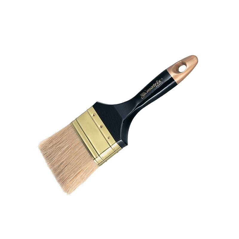 Кисть плоская 100 мм натуральная щетина., деревянная ручка, MATRIXКисть&amp;nbsp;плоская&amp;nbsp;Профи4&amp;nbsp;(100&amp;nbsp;мм)&amp;nbsp;Matrix,&amp;nbsp;светлая&amp;nbsp;натуральная&amp;nbsp;щетина<br><br>Плоская&amp;nbsp;малярная&amp;nbsp;кисть&amp;nbsp;шириной&amp;nbsp;100&amp;nbsp;мм&amp;nbsp;со&amp;nbsp;светлой&amp;nbsp;натуральной&amp;nbsp;щетиной,&amp;nbsp;окрашенной&amp;nbsp;деревянной&amp;nbsp;рукояткой&amp;nbsp;с&amp;nbsp;отверстием&amp;nbsp;для&amp;nbsp;подвешивания,&amp;nbsp;<br><br>металлической&amp;nbsp;обтяжкой&amp;nbsp;с&amp;nbsp;антикоррозийным&amp;nbsp;покрытием,&amp;nbsp;для&amp;nbsp;профессионального&amp;nbsp;нанесения&amp;nbsp;всех&amp;nbsp;типов&amp;nbsp;красок,&amp;nbsp;лаков&amp;nbsp;и&amp;nbsp;эмалей&amp;nbsp;<br><br>на&amp;nbsp;поверхности&amp;nbsp;стен&amp;nbsp;и&amp;nbsp;потолков&amp;nbsp;средней&amp;nbsp;площади.<br><br>НАЗНАЧЕНИЕ:<br><br>Окрашивание&amp;nbsp;и&amp;nbsp;лакировка&amp;nbsp;поверхностей&amp;nbsp;средней&amp;nbsp;площади&amp;nbsp;(стены&amp;nbsp;и&amp;nbsp;потолки)&amp;nbsp;с&amp;nbsp;целью&amp;nbsp;получения&amp;nbsp;глянцевого&amp;nbsp;гладкого&amp;nbsp;покрытия;<br>Применение&amp;nbsp;при&amp;nbsp;работе&amp;nbsp;с&amp;nbsp;любыми&amp;nbsp;видами&amp;nbsp;лакокрасочных&amp;nbsp;материалов,&amp;nbsp;но&amp;nbsp;особенно&amp;nbsp;эффективны&amp;nbsp;с&amp;nbsp;медленно&amp;nbsp;сохнущими&amp;nbsp;покрытиями,&amp;nbsp;<br><br>антисептиками,&amp;nbsp;алкидными&amp;nbsp;и&amp;nbsp;масляными&amp;nbsp;красками.<br>Нанесение&amp;nbsp;клеев&amp;nbsp;и&amp;nbsp;гелей.<br><br>ПРЕИМУЩЕСТВА:<br><br>Качественная&amp;nbsp;натуральная&amp;nbsp;щетина:&amp;nbsp;стойкая&amp;nbsp;к&amp;nbsp;агрессивным&amp;nbsp;веществам,&amp;nbsp;&amp;nbsp;прочно&amp;nbsp;удерживает&amp;nbsp;краску&amp;nbsp;и&amp;nbsp;наносит&amp;nbsp;с&amp;nbsp;хорошей&amp;nbsp;плотностью;<br>Экономия&amp;nbsp;расходного&amp;nbsp;материала&amp;nbsp;(нанесение&amp;nbsp;краски&amp;nbsp;тонкими&amp;nbsp;и&amp;nbsp;аккуратными&amp;nbsp;мазками);<br>Светлая&amp;nbsp;щетин