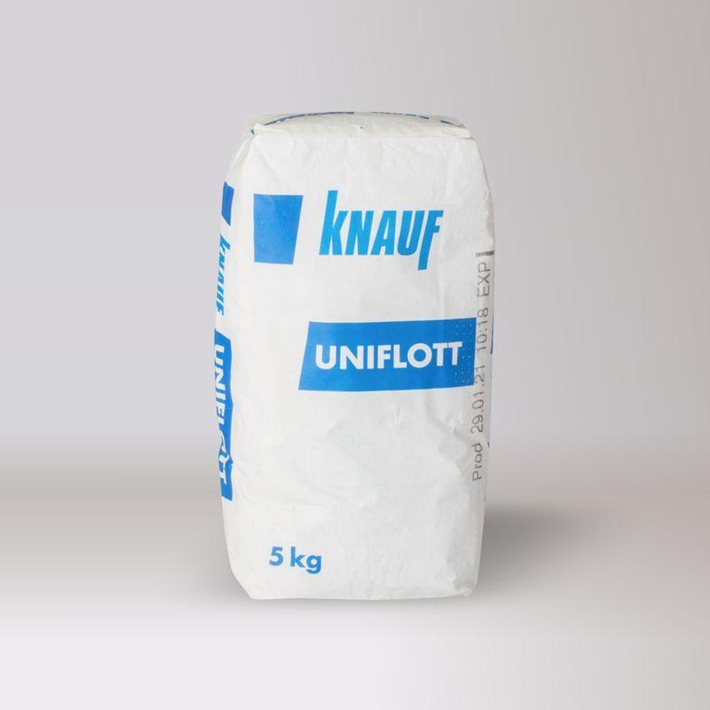 Шпатлевка Кнауф Унифлот гипс, 5 кгШпатлевка Кнауф Унифлот гипс, 5кг<br><br>Сухая шпаклевочная смесь на основе высокопрочного гипса с полимерными добавками.<br><br>НАЗНАЧЕНИЕ:<br><br>Для заделки стыков гипсокартонных КНАУФ-листов (ГКЛ), КНАУФ-суперлистов (ГВЛ); КНАУФ-суперпола (элементы пола из ГВЛВ)<br><br>и перфорированных плит КНАУФ-Клинео с кромкой 4ПК и КНАУФ-Акустика с кромками 4ПК и 2ФК/2ПК;<br><br>Для внутренних работ.<br><br>ПРЕИМУЩЕСТВА:<br><br>Экологически безопасный;<br><br>Прочный и долговечный;<br><br>Экономичный;<br><br>Высокая пластичность.<br><br>ИНСТРУКЦИЯ ПО ПРИМЕНЕНИЮ:<br><br>Подготовка основания:<br><br>Необходимо подготовить швы, они должны быть очищены от пыли и грязи. Раскрошившийся материал нужно удалить,<br><br>поверхности зачистить и загрунтовать.<br><br>Приготовление раствора В чистую емкость наливается 1 литр воды и в нее засыпается 2 кг смеси.<br><br>Раствор перемешивается шпателем или перфоратором на малых оборотах.<br><br>Сразу после достижения нужной консистенции можно приступать к работе.<br><br>Нанесение:<br><br>Для затирки швов используется стальной шпатель шириной лезвия 20 см.<br><br>Швы заполняются с усилием, лишний материал снимается и используется дальше.<br><br>Через 30 минут место обработки приглаживается шпателем. При необходимости наносится второй слой.<br><br>Остатки схватившегося раствора утилизируются.&amp;nbsp;Применять его для работы не рекомендуется, так как это чревато образованием трещин.<br><br>Время гарантированного набора шпаклевкой прочности составляет 7 суток.<br><br>Не следует накладывать раствор с запасом, в расчете на его усадку. Оставшиеся выступы будет очень трудно сточить из-за<br><br>высокой прочности шпаклевки.<br><br>МЕРЫ ПРЕДОСТОРОЖНОСТИ:<br><br>Не допускайте попадания материала в глаза и дыхательные пути.<br><br>При работе необходимо использовать резиновые перчатки;<br><br>Избегать контакта с кожей и глазами;<br><br>При попадании в глаза промыть большим количеством воды;<br><br>Беречь от детей.<br><