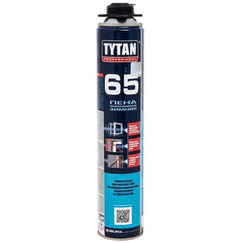 Пена монтажная Tytan 65 О2 профессиональная, зима, 750млПена монтажная профессиональная TYTAN 65 O2 (зима) 750мл<br><br>Полиуретановая однокомпонентная профессиональная (пистолетная) монтажная пена, с высокой производительностью, для применения при проведении ремонтных и монтажных работ.<br><br>НАЗНАЧЕНИЕ:<br><br>Профессиональный монтаж, уплотнение и фиксация окон, подоконников и дверных коробов;<br><br>Заполнение и герметизация трещин и швов;<br><br>Изоляция электрических сетей, коммуникаций и труб;<br><br>Звуко- и теплоизоляционные работы;<br><br>Закрепление утеплительных и изоляционных материалов на стенах.<br><br>ПРЕИМУЩЕСТВА:<br><br>Производительность до 65л пены (при температуре +20&amp;deg;C влажности 50%);<br><br>Возможно применение при минусовых температурах (до -20&amp;deg;C);<br><br>Хорошее сцепление с разными поверхностями (исключения - силикон, полиэтилен, тефлон и т.п.);<br><br>Нанесение с помощью специального пистолета (обеспечивается точность, экономичность и качество работ);<br><br>Затвердевший полиуретан имеет плотную и мелкопористую структуру;<br><br>Препятствует появлению плесени и грибков;<br><br>При использовании не выделяется MDI (метилен &amp;ndash; дифенил &amp;ndash; диизоционаты), вызывающие раздражение дыхательных путей, аллергические реакции и астму;<br><br>Не выделяет вредных веществ после отверждения;<br><br>Обладает хорошими звуко - и теплоизоляционными свойствами.<br><br>РЕКОМЕНДАЦИИ:<br><br>Используйте средства защиты (очки, перчатки) и в хорошо проветривайте помещение;<br><br>Баллон находится под давлением, следует беречь от огня и искр;<br><br>При случайном попадании пены на конструкции (пол, окно и т.п.), следует сразу очистить поверхность растворителем;<br><br>Перед работой баллон хорошо встряхнуть и при использовании держать перевёрнутым;<br><br>Наносите пену на очищенные, обезжиренные и увлажнённые поверхности;<br><br>После полного затвердевания, полиуретан следует закрыть от солнечных лучей краской или штукатуркой;<br><br>Хра