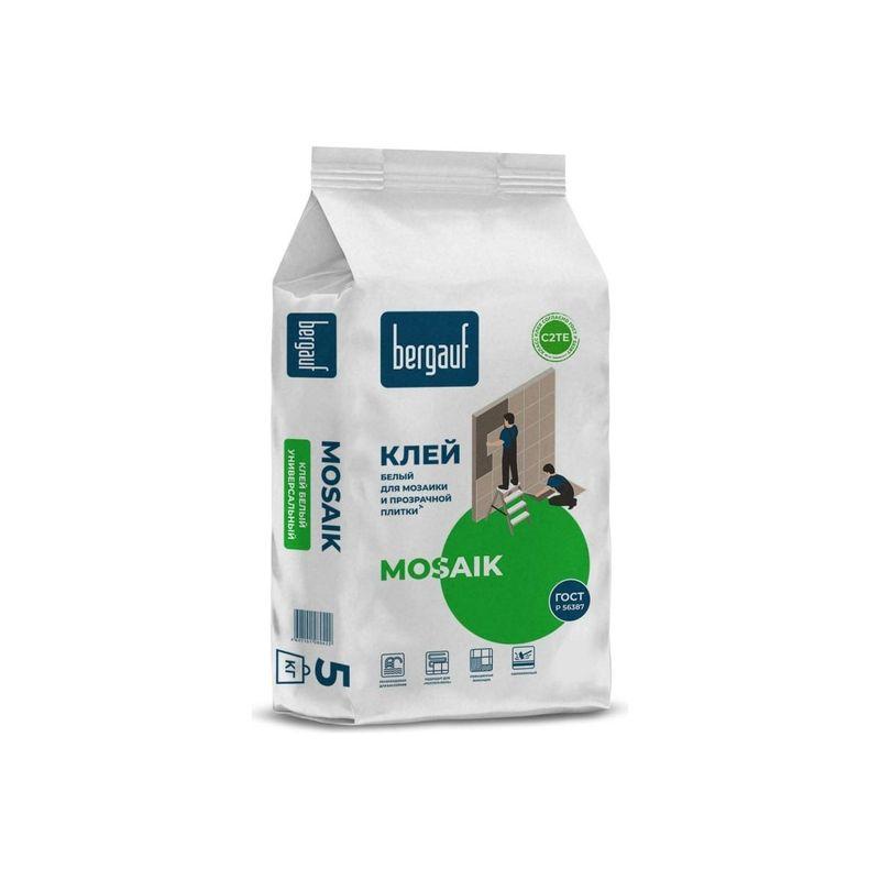 Клей для плитки Bergauf Mosaik белый, 5 кгКлей для плитки Bergauf Mosaik белый, 5 кг<br><br>Сверхпрочный клей для облицовки бассейнов, в &amp;nbsp;упаковке по 5 кг.<br><br>НАЗНАЧЕНИЕ:<br><br>Облицовка мозаичной или прозрачной плиткой, тяжеловесного крупноформатного керамогранита, натурального и всех видов искусственного камня, клинкерной плитки на горизонтальные и вертикальные поверхности.<br><br>Укладка на основания, покрытые краской или клеем (после снятия старой ПВХ плитки или линолеума), ЦСП, а также по системе &amp;laquo;плитка на плитку&amp;raquo;;<br><br>Укладка на бетонные и цементные основания, гидроизоляционные покрытия, наливные полы, кирпичные кладки, цементно-известковые штукатурки и шпаклёвки, пазогребневые, гипсоволокнистые и гипсокартонные листы;<br><br>Сцепляющий слой при штукатурных и шпаклевочных работах;<br><br>Применение при обустройстве подогреваемых полов;<br><br>Облицовочные работы в ванных комнатах и бассейнах (любых размеров);<br><br>Выравнивание небольших неровностей;<br><br>Использование в наружных работах (фасад, цоколь, балкон).<br><br>ПРЕИМУЩЕСТВА:<br><br>Применим для всех видов и размеров плитки и камня, в том числе для прозрачной плитки;<br><br>Белый цвет раствора: упрощает процесс затирки;<br><br>Способность сцепляться с любыми типами оснований;<br><br>Удобен в работе: легко смешивается с водой, обладает высокой пластичностью, длительный период жизнеспособности смеси (около 3 часов), во время работ отсутствие сползания облицовки;<br><br>Прочная фиксация плитки на вертикальной поверхности позволяет укладывать плитку &amp;laquo;сверху вниз&amp;raquo;;<br><br>Водостойкость и хорошая теплопроводность: для применения в обустройстве &amp;laquo;теплых полов&amp;raquo;.<br><br>Время коррекции плитки 20 минут;<br><br>Большой температурный диапазон проведения работ (от +5&amp;deg;С до +25&amp;deg;С);<br><br>Морозостойкость: выдерживает до 50 циклов;<br><br>Максимальный слой нанесения 10 мм;<br><br>Небольшой расход приготовленной массы;<br><br