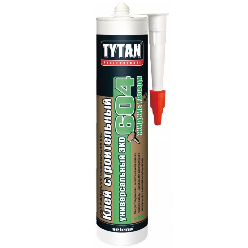 Клей строительный Универсальный ЭКО TYTAN №604, белый 440гКлей строительный универсальный ЭКО Tytan № 604, (белый) 440 гр.<br><br>Профессиональный клей для строительных, ремонтных и отделочных работ.<br><br>НАЗНАЧЕНИЕ:<br><br>Склеивание сверхпрочных (бетон) и прочных (керамическая плитка, древесина, гипсокартон и пр.) поверхностей.<br><br>ПРЕИМУЩЕСТВА:<br><br>Долговечность (термостойкий; морозостойкий; устойчивый к воздействию влаги);<br><br>Универсальность (возможно применять для внутренних и наружных работ в жилых домах и общественных зданиях, стен, потолка; подходит для декоративных элементов, плинтусов и пр.);<br><br>Безопасность (экологически чистый; не содержит растворителей; не горит);<br><br>Удобство в использовании (вес картриджа &amp;ndash; 0,44 кг.; компактные габариты; 12 штук в упаковке).<br><br>РЕКОМЕНДАЦИИ:<br><br>Общие рекомендации:<br><br>Не рекомендуется работать в присутствии посторонних лиц, детей и животных;<br><br>При работе пользоваться средствами индивидуальной защиты (перчатки, очки, каска, респиратор, нескользящая обувь), спецовкой;<br><br>Положение тела должно быть устойчивым, в рабочей зоне не должно быть посторонних предметов, которые могут привести к потере равновесия.<br><br>Рекомендации по хранению:<br><br>Хранить в сухом помещении, без доступа для детей, животных, посторонних лиц;<br><br>Беречь от резкого перепада температур, нагревания от внешних источников тепла. При переходе из холодного помещения в тёплое, дать клею время принять температуру окружающей среды.<br><br>Рекомендации по применению:<br><br>Наносить на сухую очищенную поверхность;<br><br>Использовать в течение 10 минут;<br><br>Наносить на склеиваемые поверхности. Затем &amp;ndash; соединить, прижать;<br><br>Поверхность полностью твердеет через 48 часов после нанесения клея. Готова к эксплуатации.<br>Бренд: Tytan Professional; Название: 604; Цвет: Белый; Вес: 440 гр; Применение: Универсальный; Склеиваемые материалы: Фанера; Склеиваемые материалы: Бетон; Склеиваемые матер