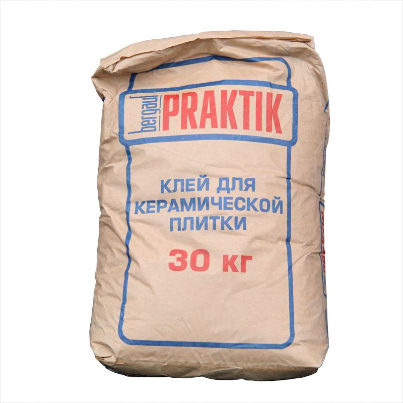 Клей для плитки Praktik, 30 кгКлей для плитки Bergauf Praktik, 30кг<br><br>Клеевой состав для внутренних облицовочных работ любой керамической плиткой, в упаковке по 30 кг.<br><br>НАЗНАЧЕНИЕ:<br><br>Укладка на бетонные и цементные основания, ячеистый бетон, гидроизоляционные покрытия, наливные полы, кирпичные кладки, цементно-известковые штукатурки и шпаклёвки, пазогребневые, гипсоволокнистые и гипсокартонные листы;<br><br>Крепление керамической плитки и малоформатной керамогранитной плитки на горизонтальные и вертикальные поверхности внутри помещения;<br><br>Облицовочные работы в ванных комнатах;<br><br>ПРЕИМУЩЕСТВА:<br><br>Эксплуатация после затвердевания возможна в диапазоне температур от -50&amp;deg;С до +70&amp;deg;С;<br><br>Максимальный слой нанесения 6 мм;<br><br>Небольшой расход приготовленной массы;<br><br>Удобен в работе: легко смешивается с водой, обладает высокой пластичностью, длительный период жизнеспособности смеси (около 3 часов), во время работ отсутствие сползания облицовки;<br><br>Прочная фиксация плитки на вертикальной поверхности позволяет укладывать плитку &amp;laquo;сверху вниз&amp;raquo;;<br><br>Водостойкость и хорошая теплопроводность: для применения в обустройстве &amp;laquo;теплых полов&amp;raquo;.<br><br>Время коррекции плитки 5 минут;<br><br>Большой температурный диапазон проведения работ (от +5&amp;deg;С до +25&amp;deg;С);<br><br>Гарантированный срок службы &amp;nbsp;&amp;ndash; 15 лет (при облицовке керамогранитом).<br><br>РЕКОМЕНДАЦИИ<br><br>Не допускайте попадания сухой смеси в органы зрения и дыхания.<br><br>Перед работой с составом выровняйте, очистите и загрунтуйте основу.<br><br>Срок годности смеси сокращается в условиях сквозняка, плохо подготовленной поверхности, пониженной влажности или повышенной температуры.<br><br>Облицовку системы обогреваемого пола производите только на холодной поверхности. Включение подогрева возможно по истечении трех суток после укладки напольного покрытия.<br><br>Пользоваться ванной комнатой после ук