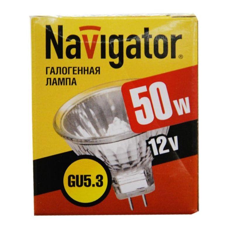 Лампа галогенная 50Вт GU5.3 12V NAVIGATOR<br>Страна производитель: Китай; Бренд: Navigator; Назначение: Для точечных светильников; Типоразмер цоколя: GU5.3; Длина: 50 мм; Диаметр: 51 мм; Форма лампы: Параболический рефлектор; Цвет лампы: Зеркальная; Цвет свечения: Теплый; Прозрачность лампы: Зеркальная; Номинальное напряжение: 230 В; Потребляемая мощность: 50 Вт; Световой поток: 750 Лм; Цветовая температура: 3000 К; Светорегулирование: Недиммируемая; Срок службы: 2000 ч; Температура эксплуатации: От -40°С до +40°С;