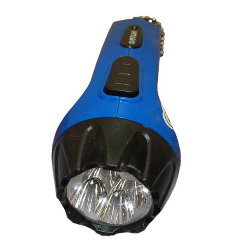 Фонарь аккумуляторный голубой (4 светодиода)Фонарь аккумуляторный голубой (4 светодиода)<br><br>Ручной компактный светодиодный аккумуляторный фонарь Фотон Рм - 0104. Высокие потребительские характеристики, долгий срок службы и небольшая цена делают модель популярной у потребителей.<br><br>НАЗНАЧЕНИЕ:<br><br>Переносной источник света в условиях недостаточной видимости или отсутствия освещения.<br><br>ПРЕИМУЩЕСТВА:<br><br>Необычной эргономичной формы пластиковый корпус синего цвета - удобно помещается в руке;<br><br>Ползунковый ребристый выключатель исключает соскальзывание при пользовании;<br><br>Светодиоды Straw-Hat - большой угол рассеивания (100-140&amp;deg;), морозоустойчивость, стойкость к ударам и сотрясениям, длительный срок службы, независящий от количества включения/выключения;<br><br>Большая дальность луча (до 25 м) и яркость (16 люмен) - 4 светодиода и гладкая рефлекторная отражающая линза;<br><br>Питание от встроенного свинцово-кислотный аккумулятор (4V 0,5A) &amp;ndash; способность работать непрерывно без подзарядки до 8 часов, время полной зарядки от 8 до 14 часов;<br><br>Встроенное зарядное устройство (сетевая вилка скрыта в корпусе и выдвигается при необходимости) - подходит к розеткам 220 вольт, практичность подзарядки (не требуются дополнительные аксессуары);<br><br>Степень защиты IP 44 (от влаги и брызг воды) &amp;ndash; можно использовать при повышенной влажности, на улице;<br><br>Компактный размер (длина 135мм вес 142) и ремешок &amp;ndash; комфортен для бытового применения (удобно держать фонарь всегда &amp;laquo;под рукой&amp;raquo;).<br><br>РЕКОМЕНДАЦИИ:<br><br>Для увеличения срока службы аккумулятора, не допускайте его полного разряда (должен быть обязательно заряжен);<br><br>Подзаряжайте аккумуляторы после каждого использования, а при длительном хранении раз в 2 месяца;<br><br>Не включайте устройство во время зарядки.<br>Страна производитель: Китай; Бренд: Фотон; Модель: Рм-0104; Цвет: Голубой; Цвет луча: Белый; Тип: Ручной; Источник света: 