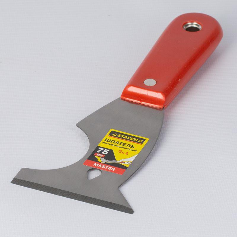 Шпатель многофункциональный с пластмассовой ручкой STAYER 75 мм<br>Бренд: Stayer; Назначение: Многофункциональный; Форма лезвия: Фигурное; Ширина лезвия: 75 мм; Металлический боек: Нет; Материал лезвия: Хромированная сталь; Материал рукоятки: Пластик; Особые свойства: Отверстие в ручке; Масса: 70 г; Страна производитель: Китай;