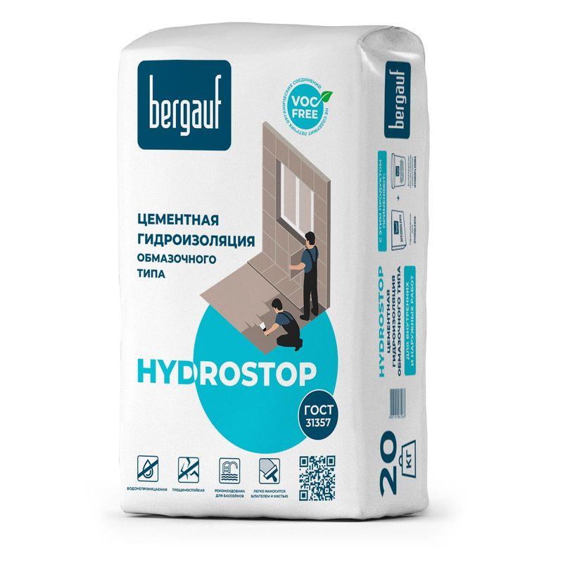 Гидроизоляция цементная Bergauf Hydrostop, 20 кгГидроизоляция цементная BERGAUF HYDROSTOP, 20 кг<br><br>Однокомпонентная гидроизоляция на цементной основе для нанесения обмазочным способом.<br><br>НАЗНАЧЕНИЕ:<br><br>Применяется для гидроизоляции поверхностей в помещениях с нормальной и повышенной влажностью (ванная комната, санузел, подвал, а также в бассейнах глубиной до 5 метров);<br><br>Используется для изоляции фасадов и цоколей зданий;<br><br>Подходит для работ внутри и снаружи помещений.<br><br>ПРЕИМУЩЕСТВА:<br><br>Расход при нанесении слоя в 1мм &ndash; 1,8 -2 кг/м2;<br><br>Долговечность (остается эластичной после набора прочности; стойкость к воздействию влаги; обладает трещиностойкостью и морозостойкостью класса 50 F &ndash; выдерживает до 50 циклов заморозки/оттаивания)<br><br>Удобство в использовании (время &laquo;жизни&raquo; смеси &ndash; 3 часа; затворяется водой; легкое нанесение шпателем и кистью);<br><br>Универсальность (подходит для внутренних и наружных работ; возможность работы в помещениях с нормальной и повышенной влажностью; диапазон температур при эксплуатации от -500С до +700С; применима к различным типам основания: цементная стяжка, железобетон, цементная штукатурка, кирпич, бетон).<br><br>РЕКОМЕНДАЦИИ:<br><br>При работе используйте средства индивидуальной защиты (очки, перчатки);<br><br>При попадании раствора на кожу, промойте большим количеством воды;<br><br>Смесь разводится водой в соотношении: на 1кг смеси 0,23-0,25 литров воды для нанесения кистью, на 1кг смеси 0,18-0,20 литров воды для нанесения шпателем;<br><br>Перед нанесением смеси очистите обрабатываемую поверхность;<br><br>Увлажните основание перед тем, как нанести гидроизоляцию;<br><br>Рекомендуется использование армирующей сетки, укрепленной в основание, для лучшей адгезии смеси с обрабатываемой поверхностью;<br><br>Дальнейшие ремонтные работы можно производить спустя двое суток после нанесения;<br><br>Диапазон температур при применении смеси от +50С до +300С;<br><br>Храните см