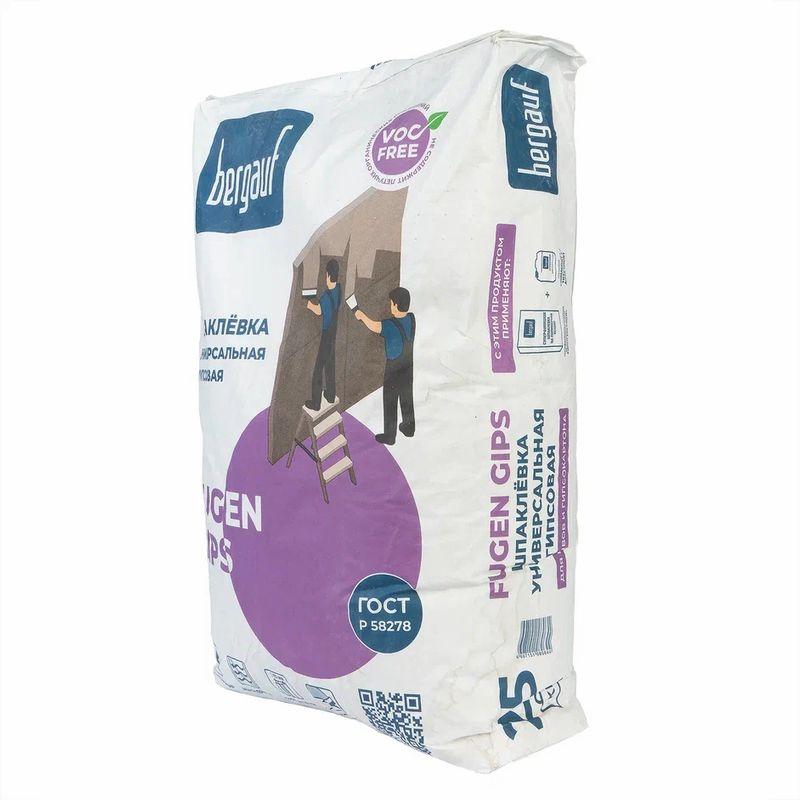 Шпатлевка Bergauf Fugen Gips, 25 кгШпатлевка Bergauf Fugen Gips, 25 кг<br><br>Шпатлевка на гипсовой основе ручного нанесения для финишного выравнивания.<br><br>НАЗНАЧЕНИЕ:<br><br>Выравнивание и устранение дефектов на поверхности в помещениях нормальной влажности перед&amp;nbsp;оклейкой обоями, нанесением краски или декоративной штукатурки;<br><br>Нанесение на цементные, цементно-известковые, бетонные, гипсовые поверхности, гипсокартонные листы;<br><br>Выравнивание швов между листами гипсокартона совместно с армирующей лентой.<br><br>ПРЕИМУЩЕСТВА:&amp;nbsp;<br><br>Устойчивая к появлению трещин;<br><br>Не дает усадку после высыхания;<br><br>Наносится толщиной от 0,5 до 15 мм;<br><br>Пластичная;<br><br>Легко шлифуется.<br><br>ИНСТРУКЦИЯ ПО ПРИМЕНЕНИЮ:<br><br>Подготовка основания:<br><br>Основа для нанесения должна быть прочной, высохшей и очищенной. Вещества, ослабляющие сцепление с поверхностью, такие как жирные и масляные пятна, пыль, отслоения и т.п. должны быть удалены. Окна и двери закрыты, чтобы избежать сквозняков.<br><br>Температурный режим в помещении должен быть не ниже +5 и не выше + 25 градусов. Это условие необходимо соблюдать за пять дней до работ и три дня после.<br><br>Поверхности пористые и сильно впитывающие (например, ячеистый бетон) предварительно обработать грунтовочным составом, просушить один час и обработать повторно. Сушить перед шпаклеванием 4 часа.<br><br>Глубокие трещины и сколы, за сутки до начала шпаклевания, очистить от пыли, обработать составом Bergauf Primer или Bergauf Tiefgrunt, заполнить смесью Bau Putz Zement, которую нужно развести густо.<br><br>Приготовление смеси:<br><br>Емкость, в которой будут замешивать раствор, и инструменты должны быть чистыми и сухими. Не переставая перемешивать, в воду (температурой от +5 до +25 градусов) постепенно ввести сухую смесь в следующих пропорциях:<br><br>- на 1 кг смеси &amp;ndash; 0,35 &amp;ndash; 0,37 л воды<br>- на 5 кг смеси &amp;ndash; 1,7 &amp;ndash; 1,85 л воды<br><br>- на 25 кг смеси &am
