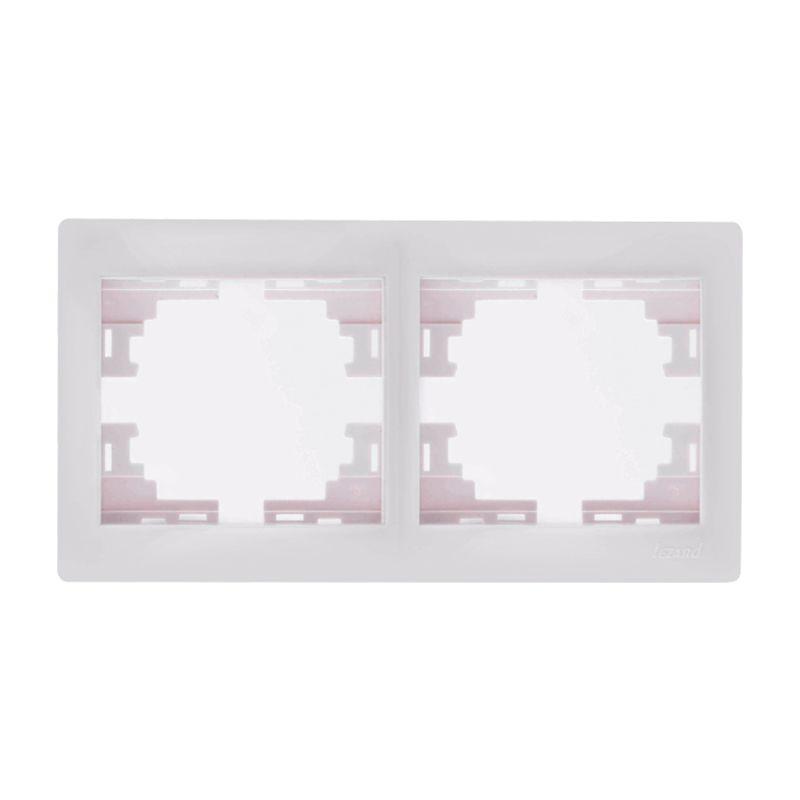 Рамка 2-местная белая горизонтальная МИРА LEZARDРамка 2-местная белая горизонтальная МИРА LEZARD<br><br>Двухместная рамка МИРА LEZARD в горизонтальном положении для скрытия розеток или выключателей. Цвет &amp;ndash; белый.<br><br>НАЗНАЧЕНИЕ:<br><br>Предназначена для горизонтального монтажа розеток и выключателей со встраиваемым типом &amp;nbsp;коллекции МИРА LEZARD.<br><br>ПРЕИМУЩЕСТВА:<br><br>Корпус оснащен двумя постами в горизонтальном положении для удобства размещения розеток и выключателей в различном порядке.<br><br>Надежность (защита от пыли и влаги, упор конструкции розетки в стену, корпус из негорячего поликарбоната, каркас устойчив к механическому повреждению, защита от УФ лучей);<br><br>Удобство монтажа (быстрая установка защелкиванием, винтовое крепление, длина посадки регулируется до 10мм);<br><br>Дизайн (красивая обтекаемая форма белого цвета, хорошо скрывает розетки и выключатели);<br><br>Рабочая температура от -25*С до +40*С, не воспламеняется.<br><br>РЕКОМЕНДАЦИИ:<br><br>Использовать для розеток и выключателей скрытого типа установки;<br><br>При установке розетки и рамки на нее, необходимо убедиться в &amp;nbsp;геометрии стен для полного прилегания &amp;nbsp;конструкции;<br><br>Скорректировать положение рамки при помощи строительного уровня;<br><br>Клавиши выключателя установить, надавливая до упора. Розетки фиксируются саморезами;<br><br>Не затягивайте через силу рамку &amp;ndash; она может треснуть;<br><br>В случае не плотного прилегания конструкции к стене &amp;ndash; проверить правильность выставления внутреннего механизма.<br><br>МЕРЫ ПРЕДОСТОРОЖНОСТИ:<br><br>Работы с установкой розеток и выключателей происходят в отсутствии детей и животных.<br><br><br>&amp;nbsp;<br>Родина бренда: Китай; Бренд: Lezard; Коллекция: Мира; Стилизация: Монотонный; Цвет: Белый; Назначение: Для розетки; Назначение: Для выключателя; Количество гнезд: Двухместная; Материал: Пластик; Высота: 8,5 мм; Ширина: 82 мм; Длина: 147 мм; Степень защиты: IP 20;